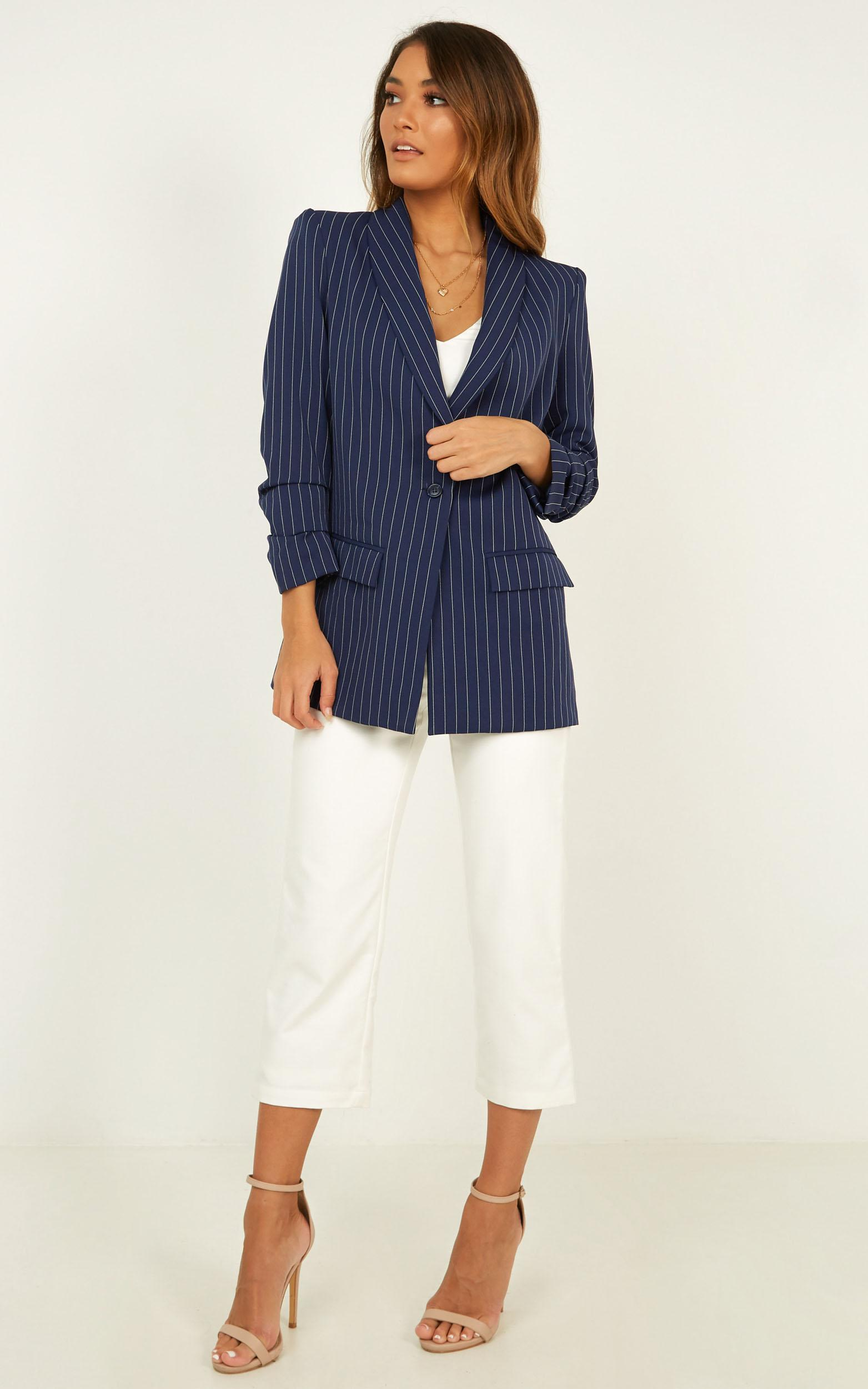 You Should Know Blazer In navy stripe - 16 (XXL), Navy, hi-res image number null