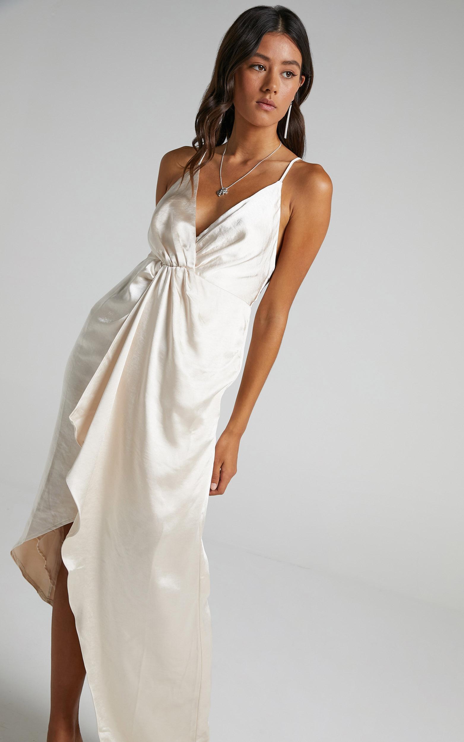 Jayne Twist Front Maxi Dress in Champagne Satin - 4 (XXS), Cream, hi-res image number null