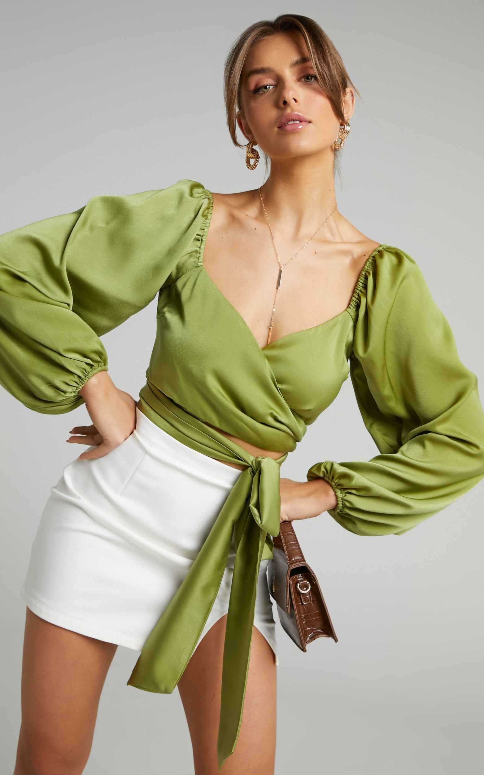 Toree Long Sleeve Tie Front Top in Olive - 06, GRN1, hi-res image number null