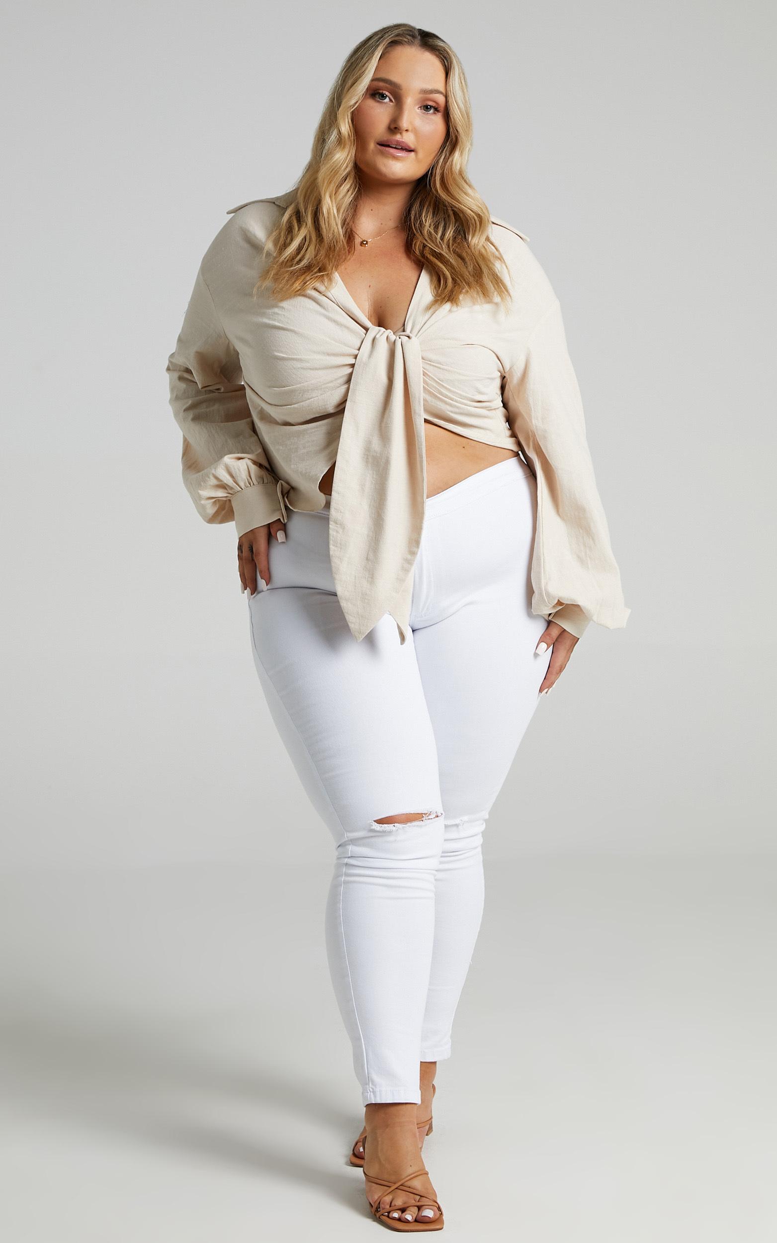 Hanes Longsleeve Drape Shirt in Cream - 04, CRE4, hi-res image number null