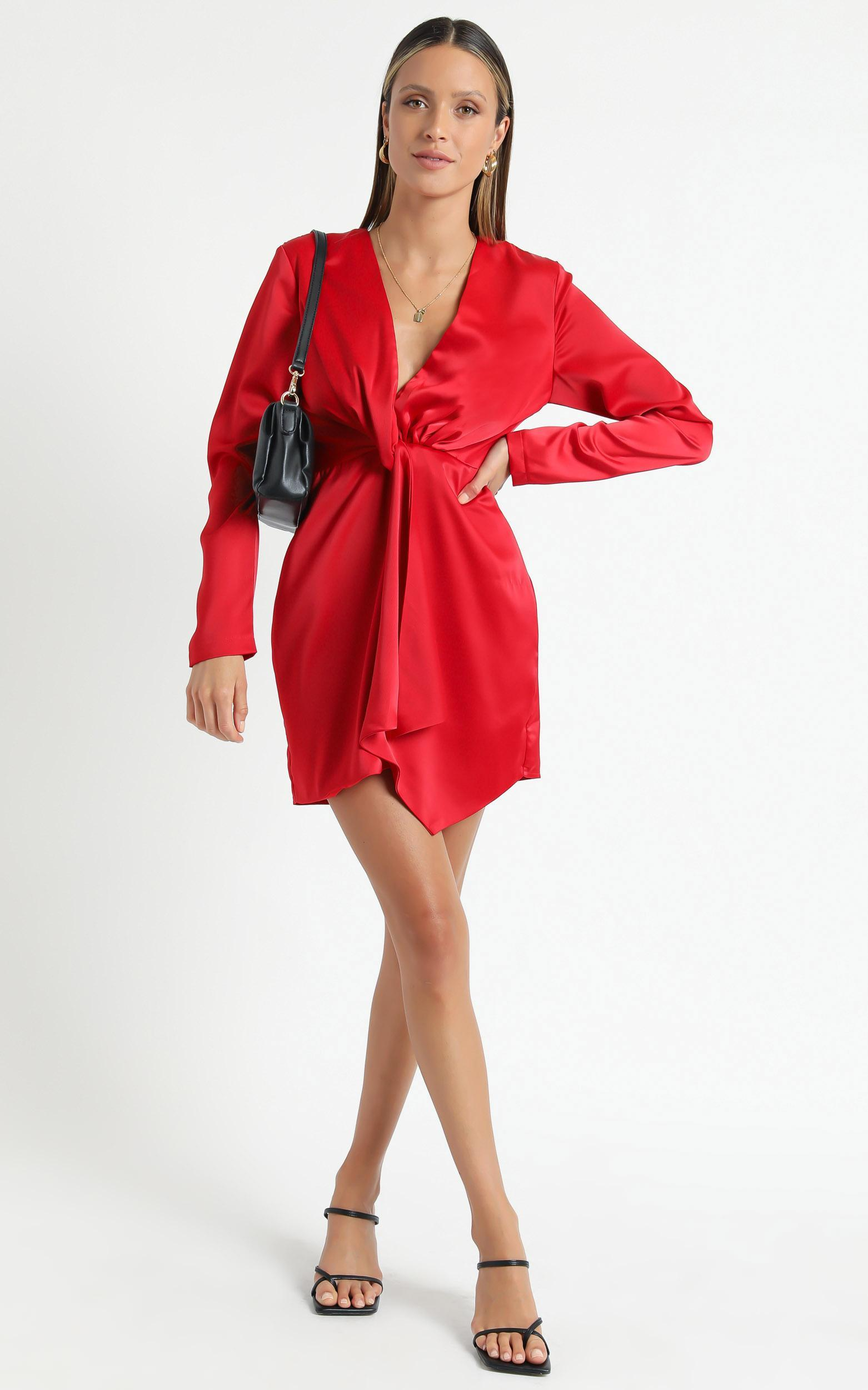 Stop Thinking About It Dress in Red Satin - 6 (XS), Red, hi-res image number null
