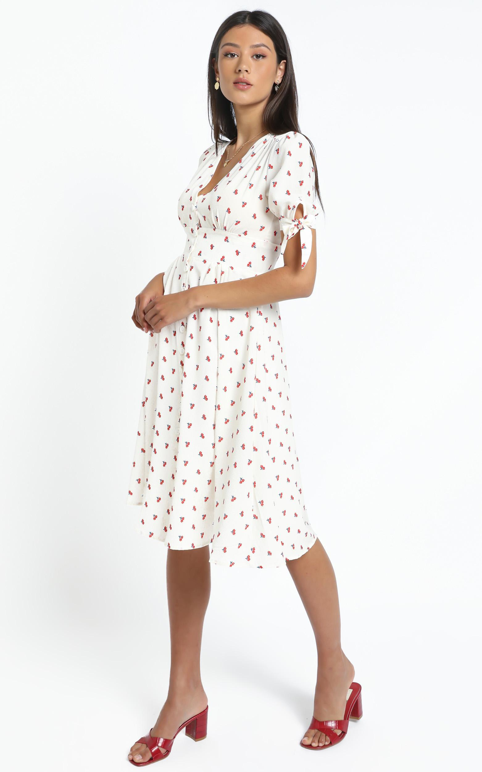 Russo Dress in Cherry Floral, Cream, hi-res image number null