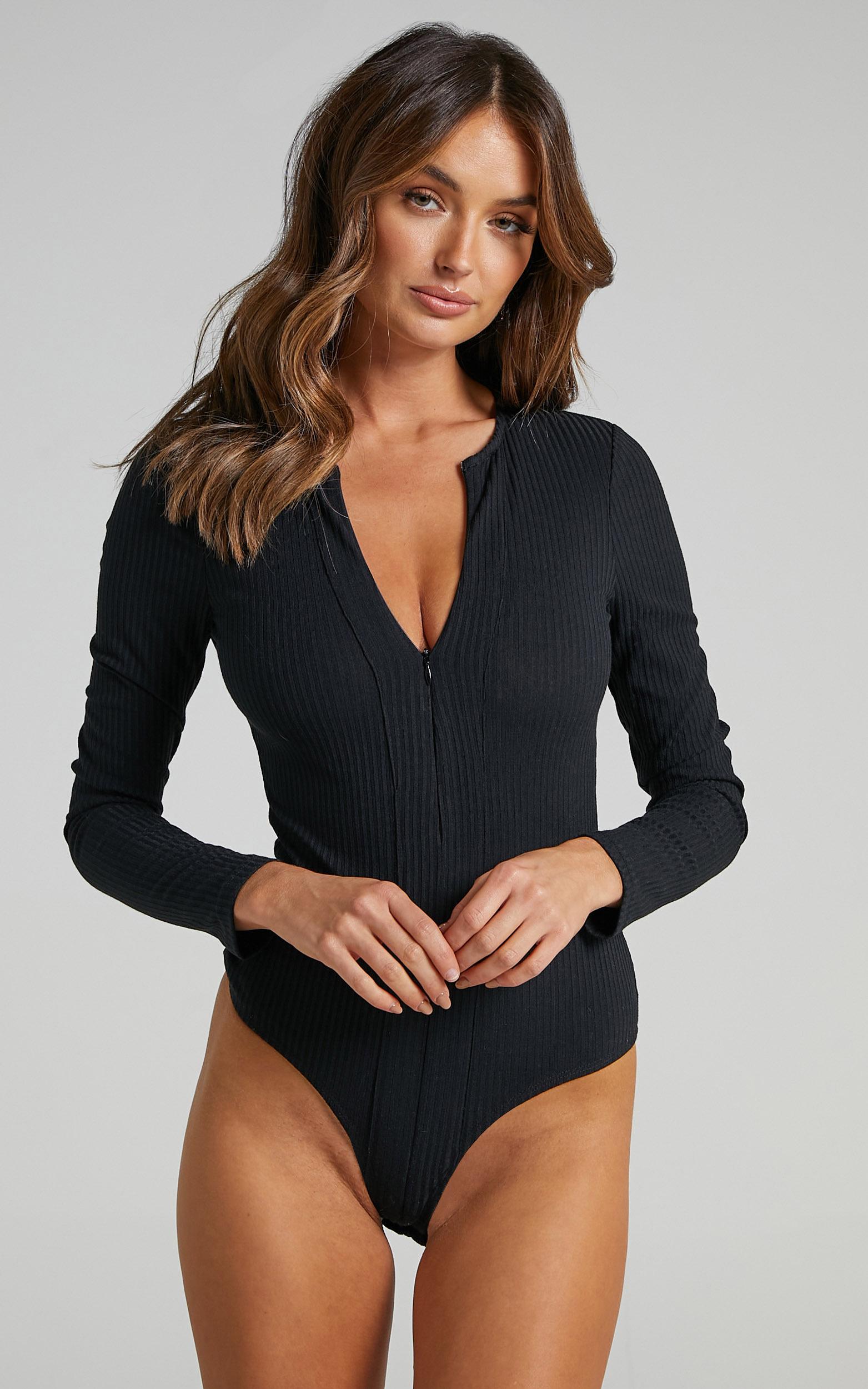 Mahony Longsleeve Rib Bodysuit in Black - 04, BLK1, hi-res image number null