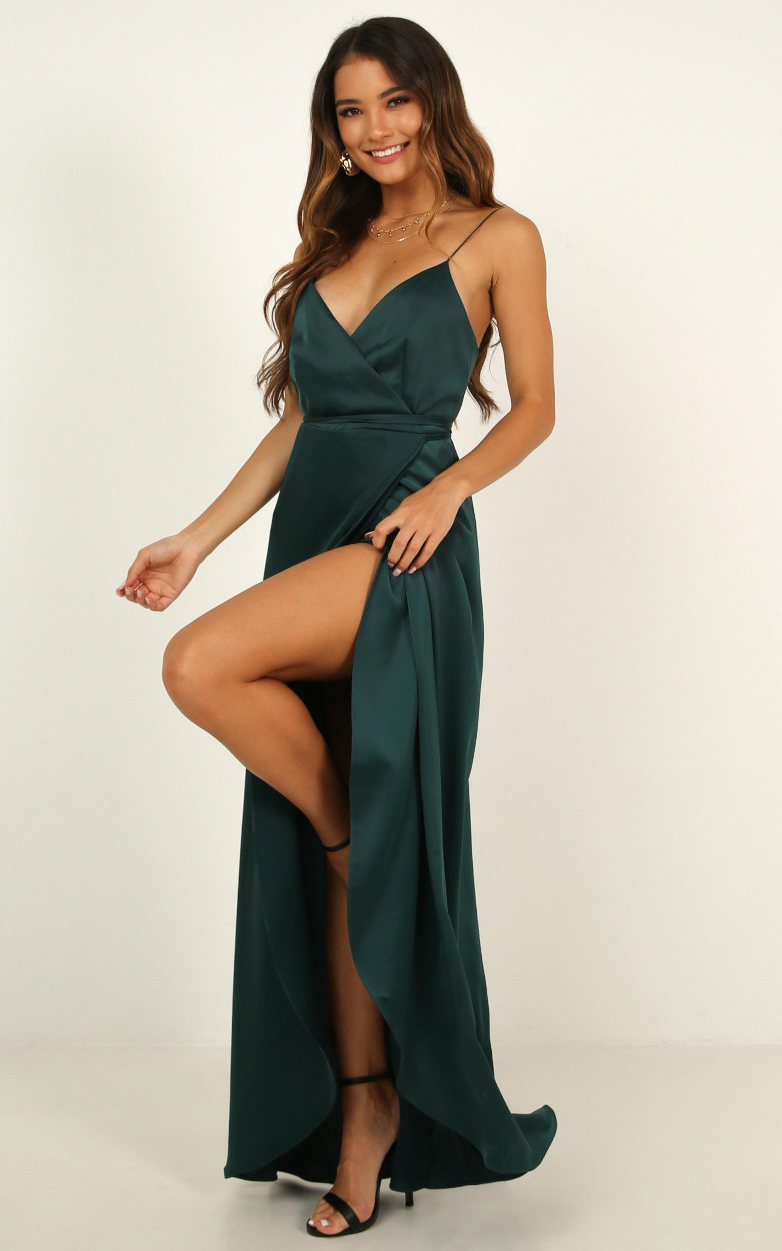 Mine Would Be You Dress in emerald satin - 20 (XXXXL), Green, hi-res image number null