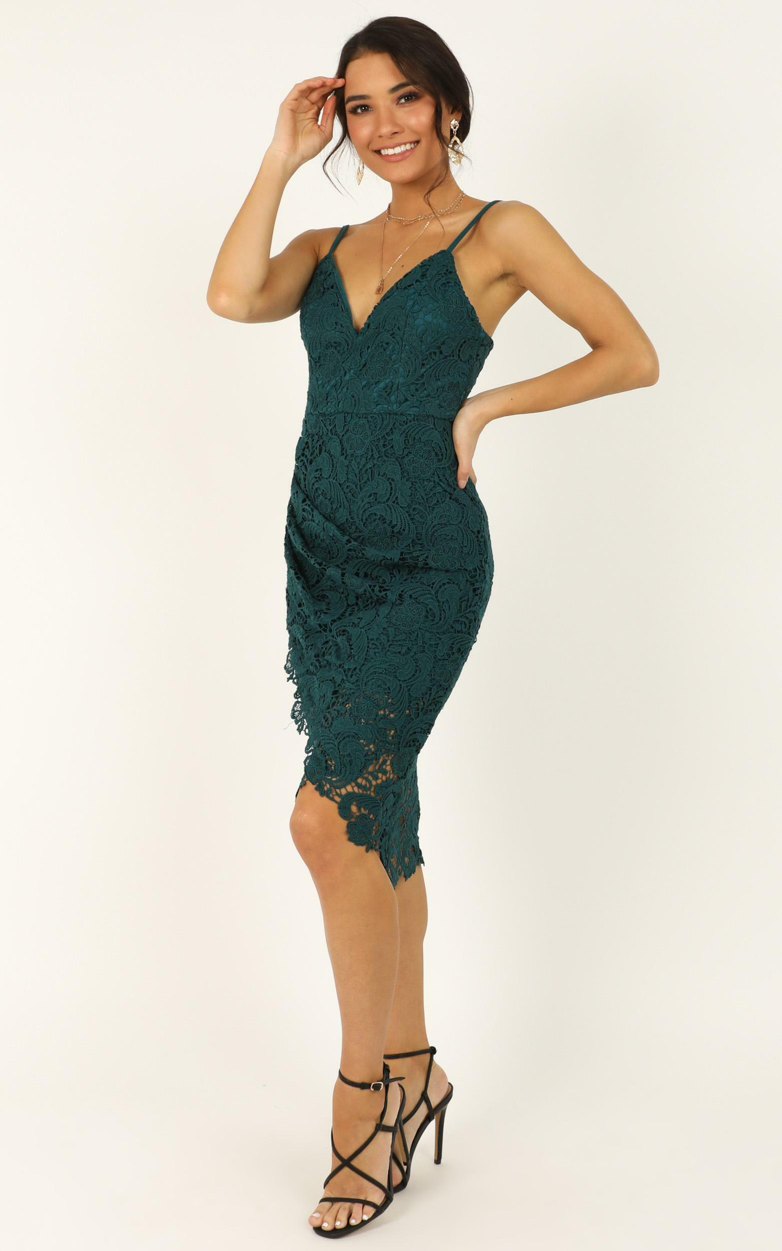 Typical Lover Dress in emerald lace - 20 (XXXXL), Green, hi-res image number null