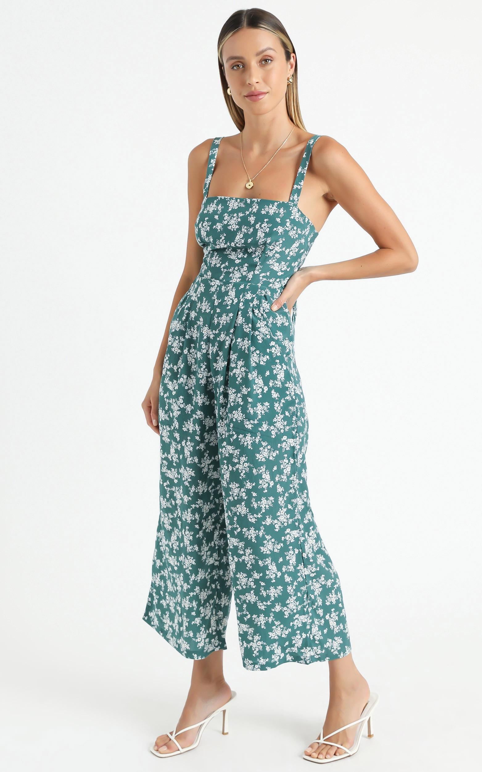In Your Soul jumpsuit in sage floral - 20 (XXXXL), Sage, hi-res image number null