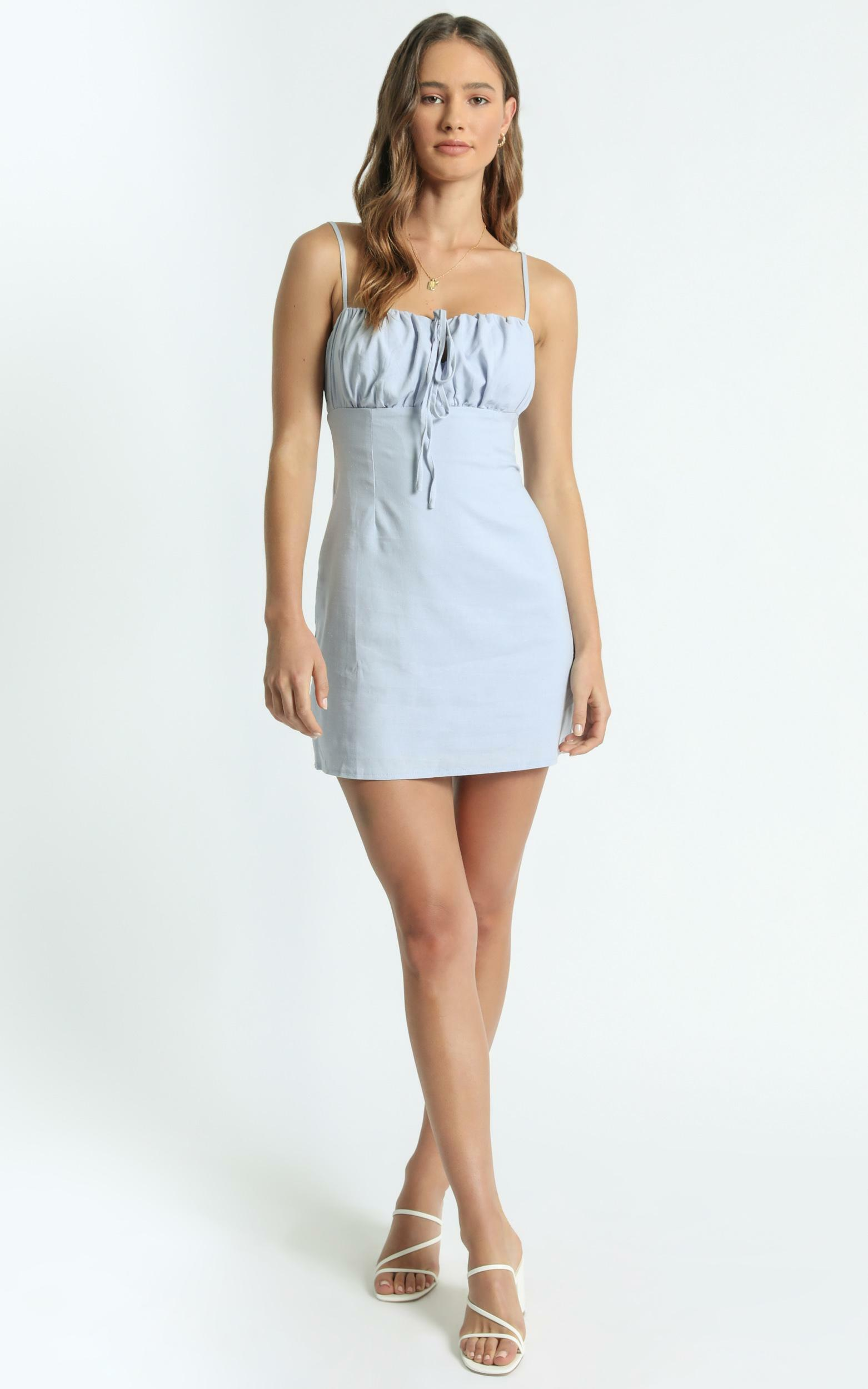 Break Free With Me Dress in Blue Linen Look - 10 (M), Blue, hi-res image number null