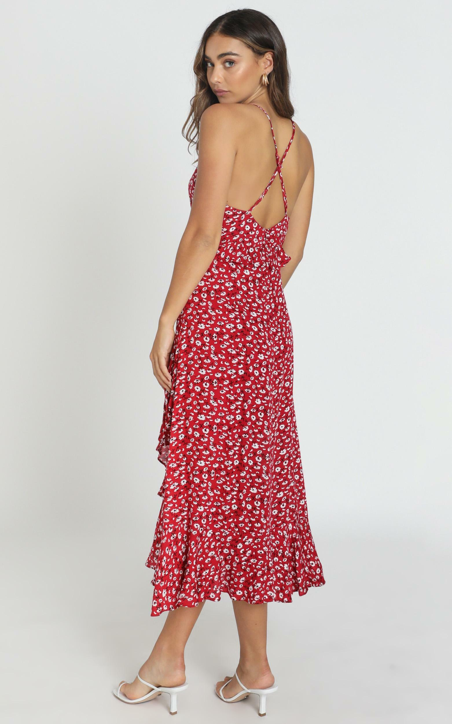 Chelsea Tie Front Midi Dress in red floral - 6 (XS), Red, hi-res image number null