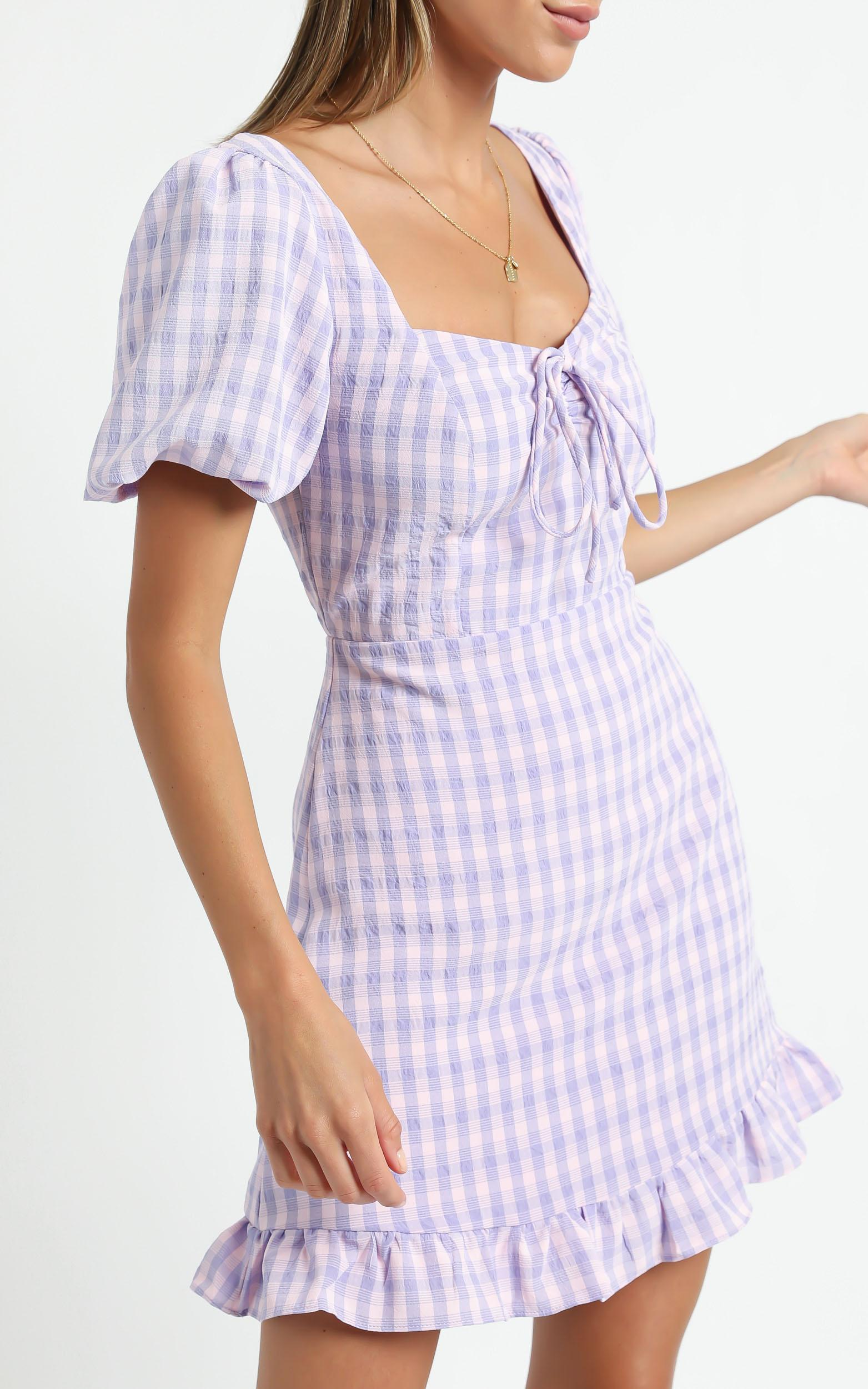 Fifi Dress in Purple Check - 6 (XS), Purple, hi-res image number null
