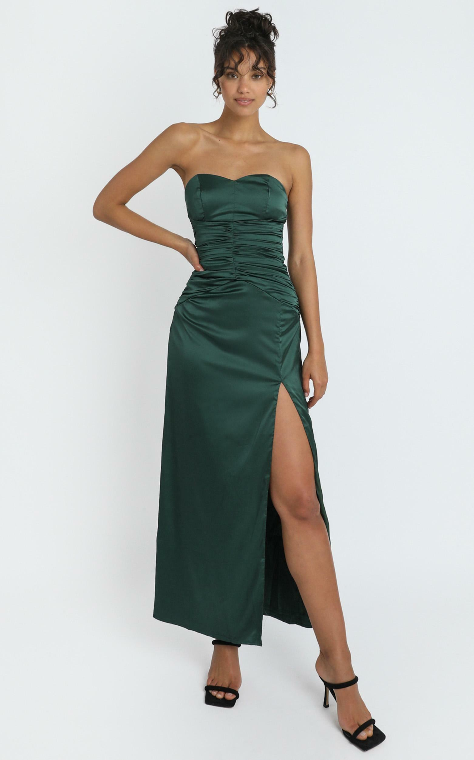 Dominque Ruched Waist Maxi Dress in emerald satin - 4 (XXS), Green, hi-res image number null