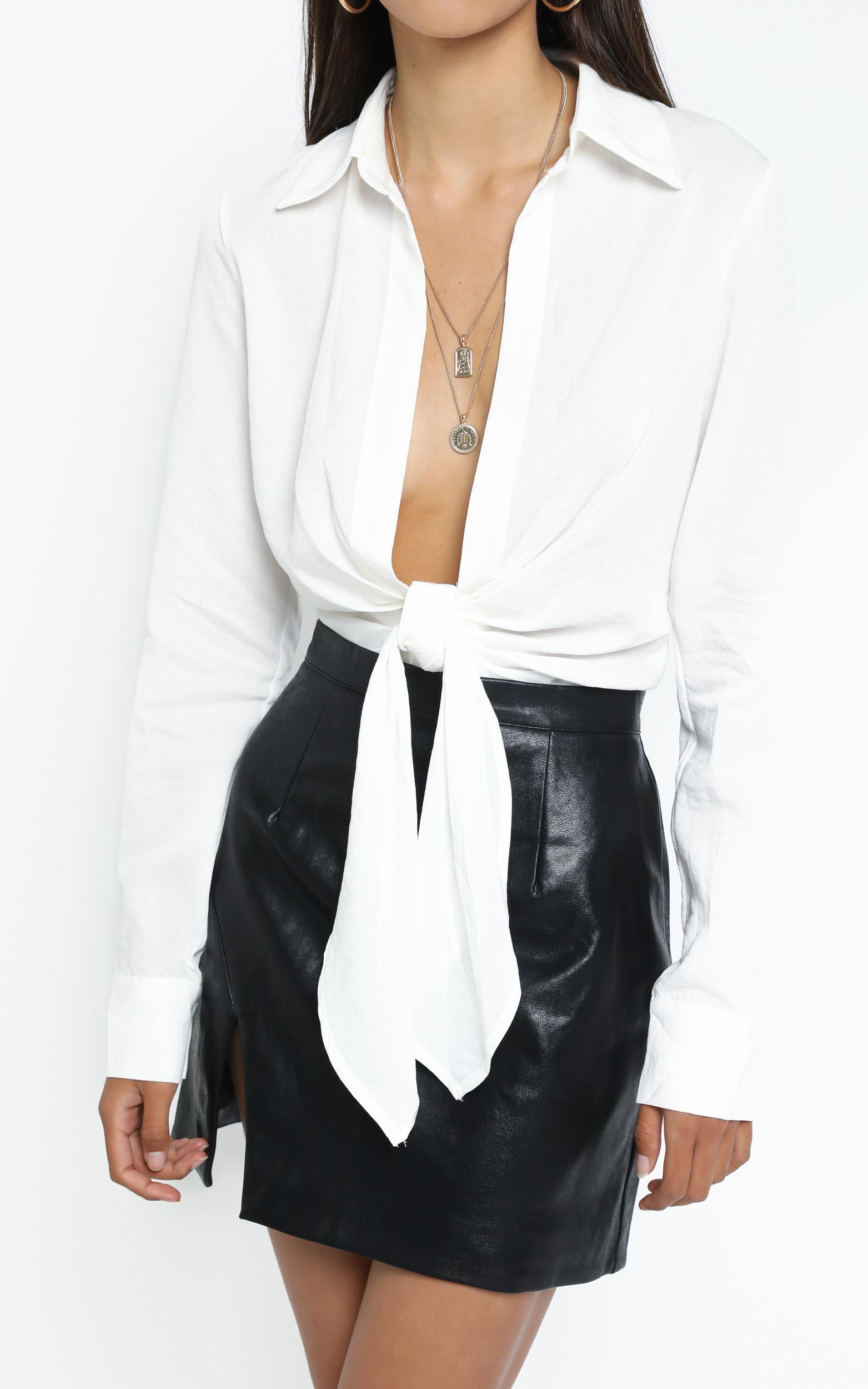 Monroe Tie Top in White - 12 (L), White, hi-res image number null