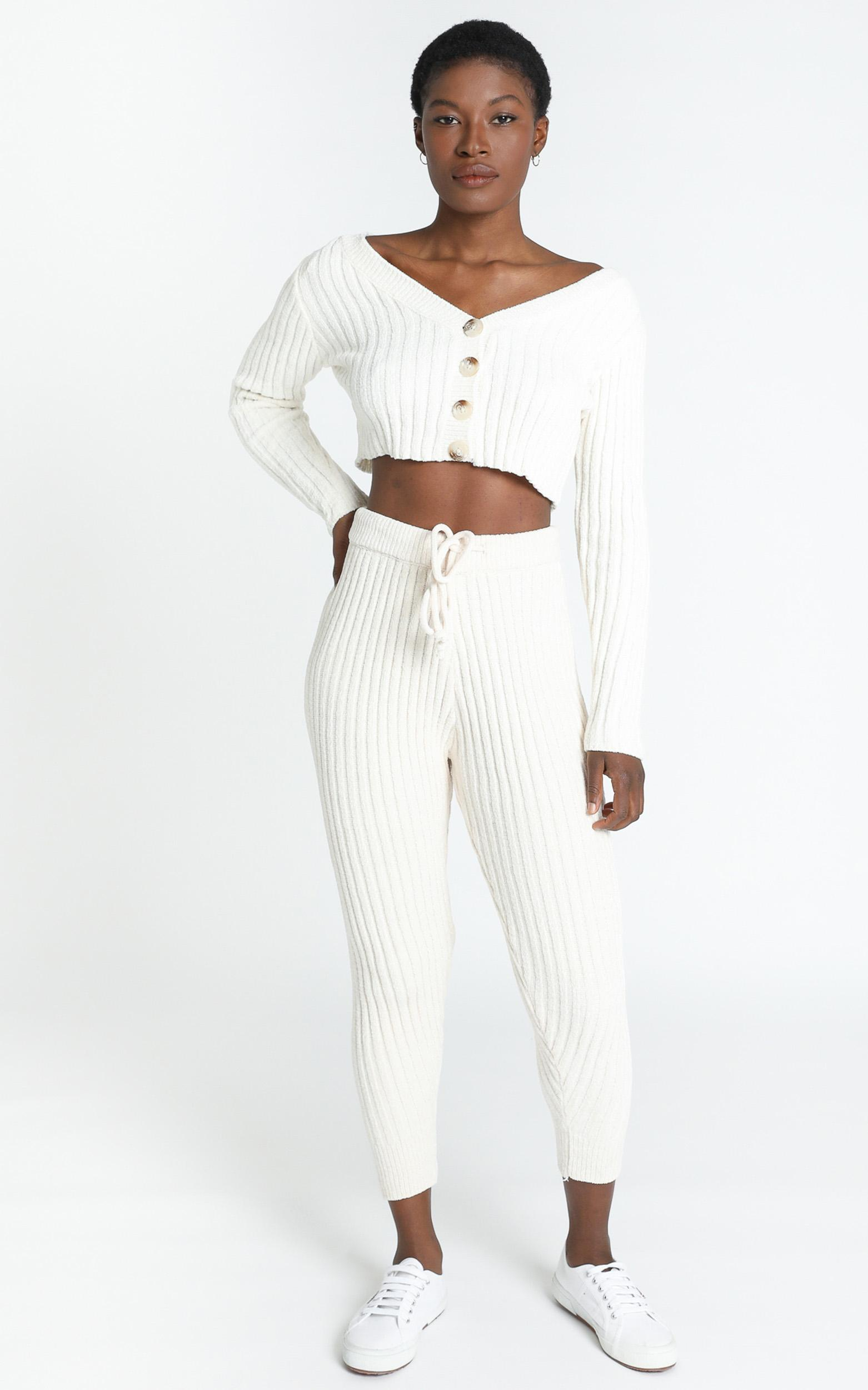 Becka Knit Pants in Cream - S, Cream, hi-res image number null