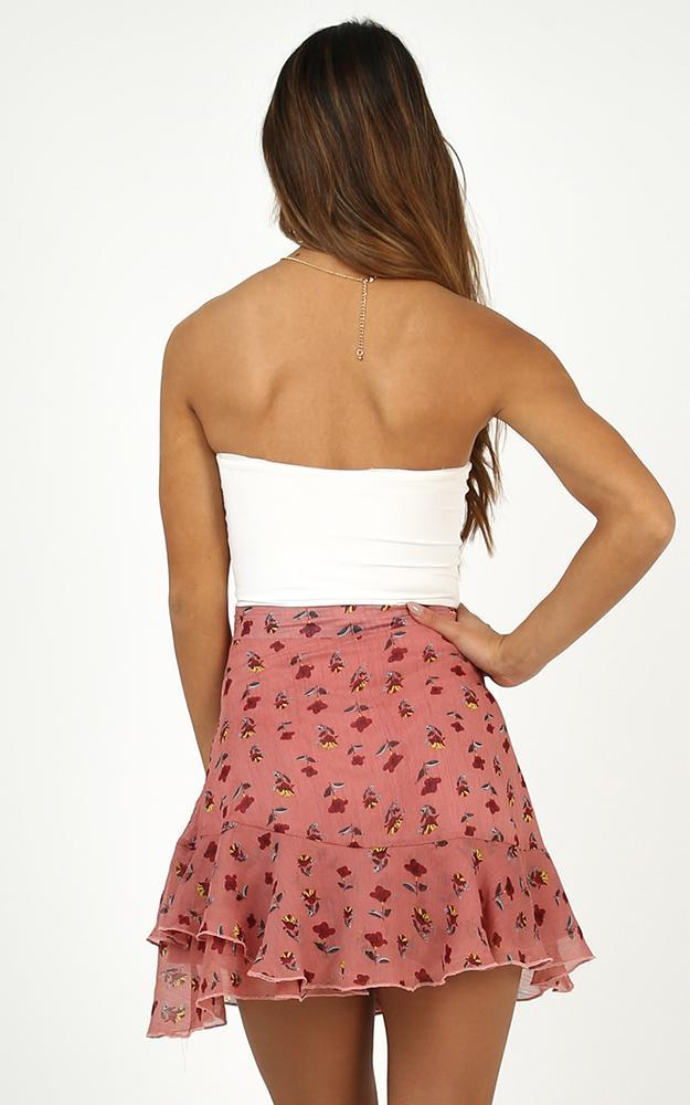 Born To Be Yours Skirt in Rose Floral - 12 (L), Pink, hi-res image number null