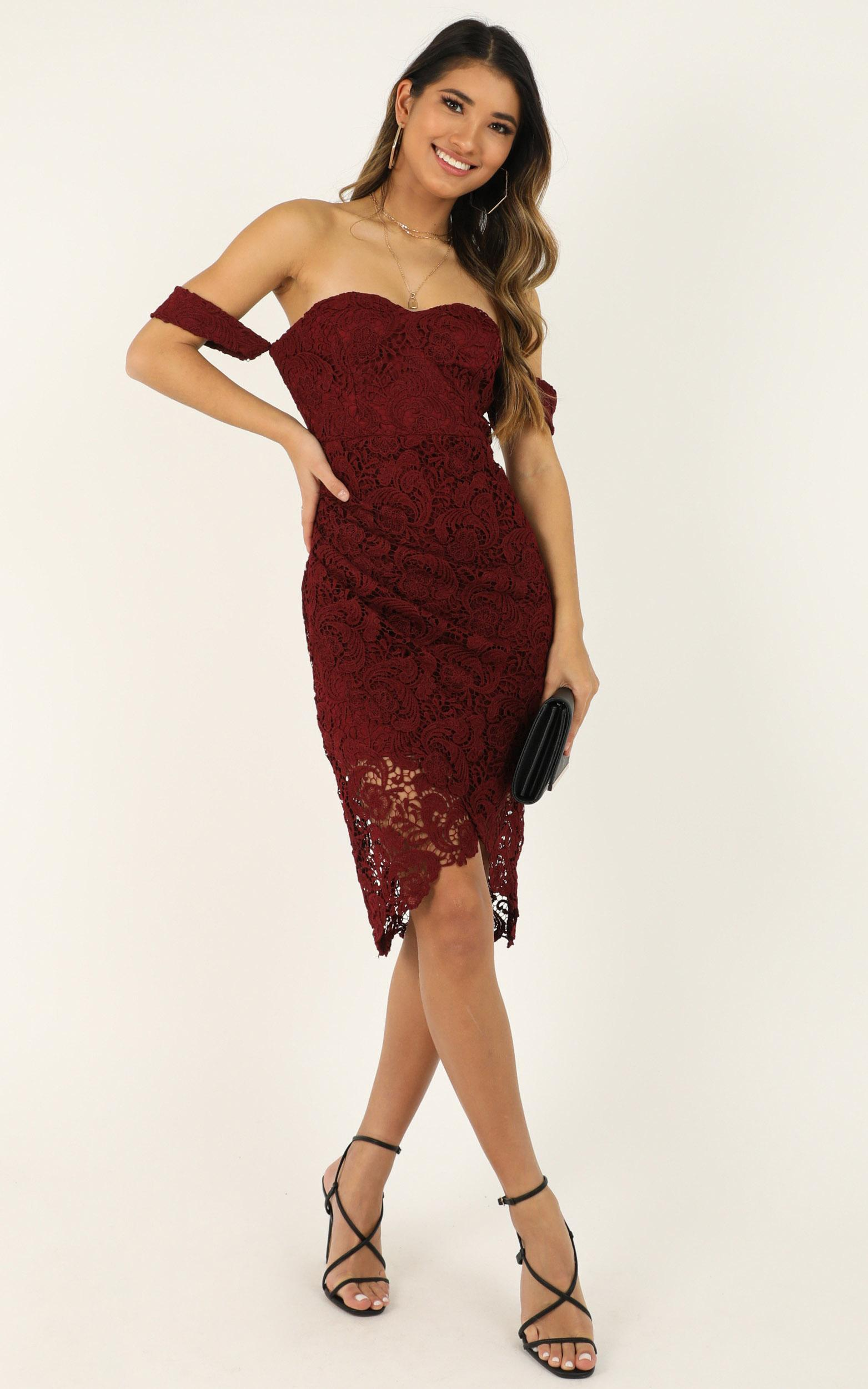 Try It Out Dress in wine lace - 20 (XXXXL), Wine, hi-res image number null