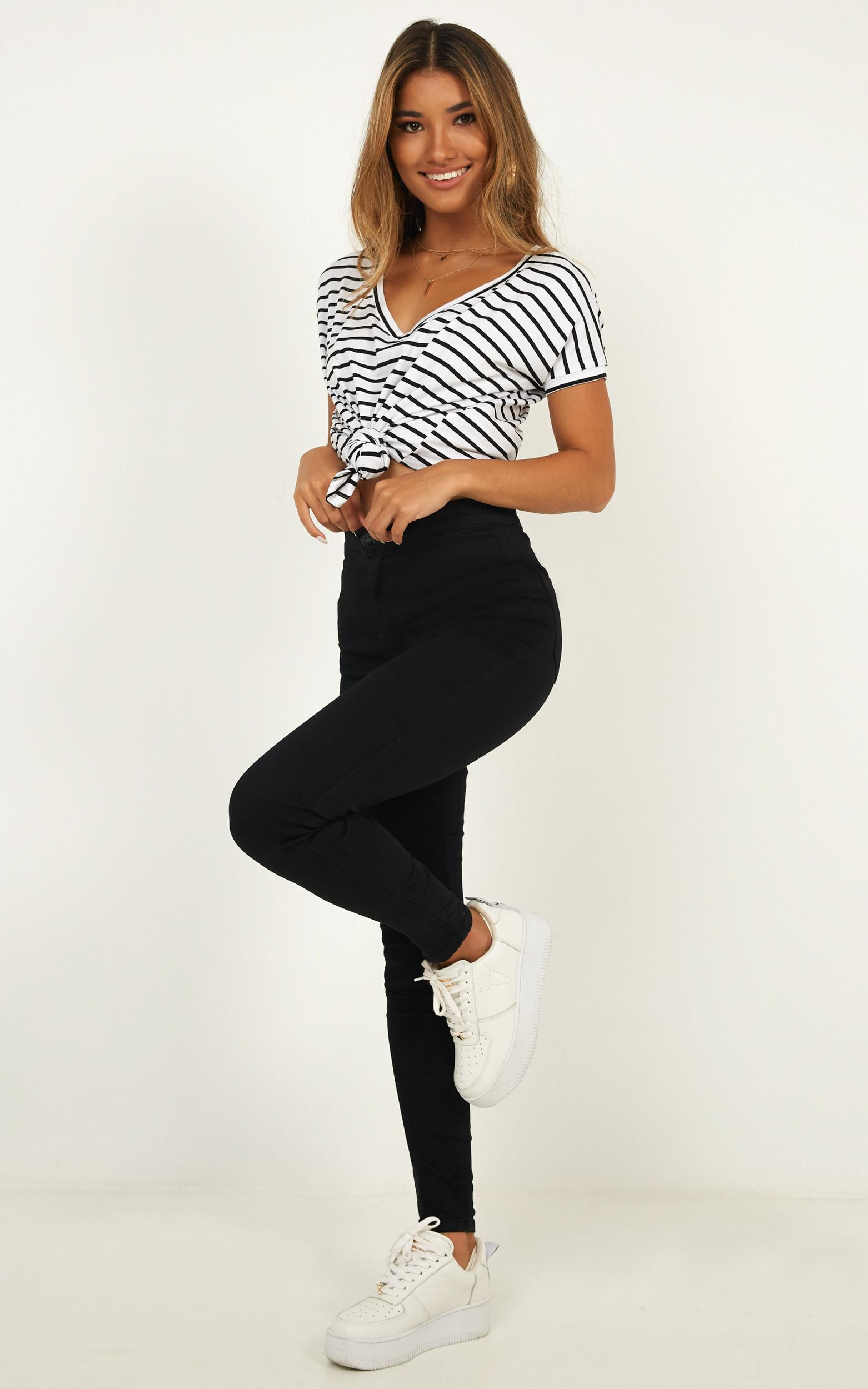 Back To Basics top in white stripe - 12 (L), Multi, hi-res image number null