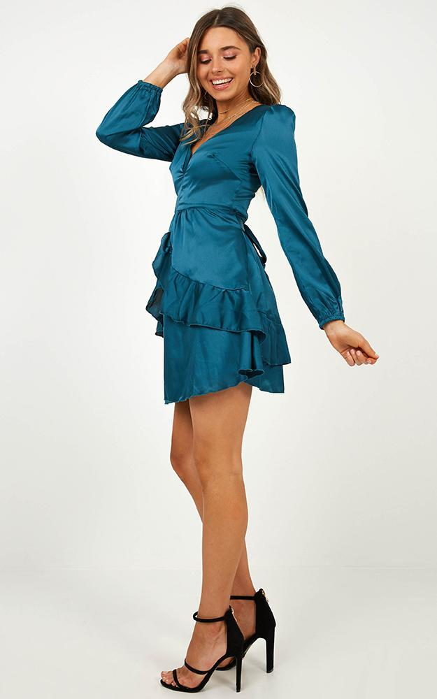 White Lies Dress in Teal Satin - 14 (XL), Green, hi-res image number null