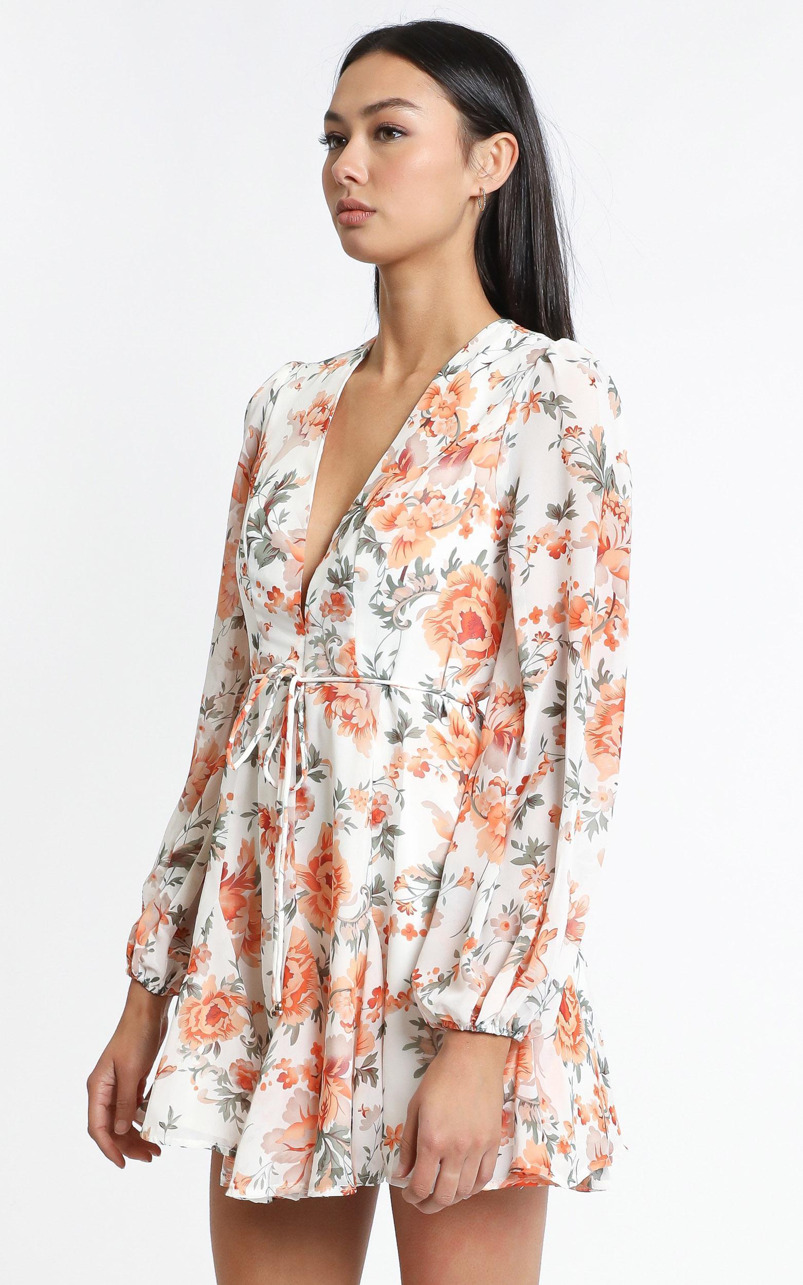 Delano Dress in Orange Print - 12 (L), Orange, hi-res image number null