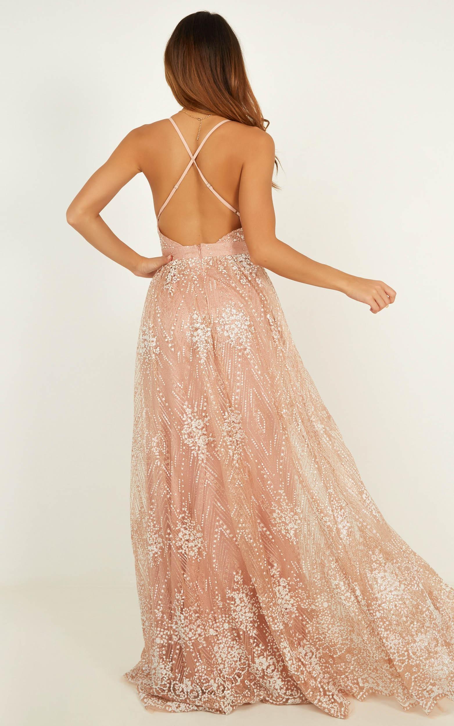 Her Crystal Eyes maxi dress in rose gold glitter - 12 (L), Rose Gold, hi-res image number null