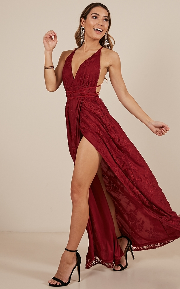 Worlds Apart dress in wine lace - 14 (XL), Wine, hi-res image number null