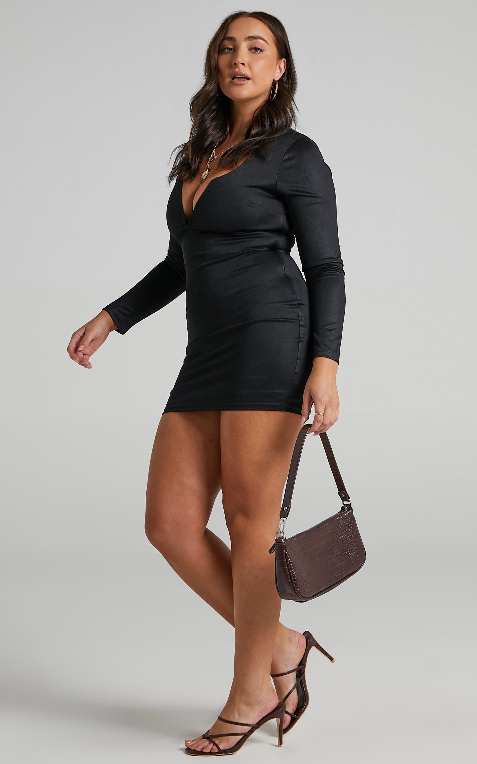 Courteney Mini Bodycon V Neck Dress in Black - 06, BLK1, hi-res image number null