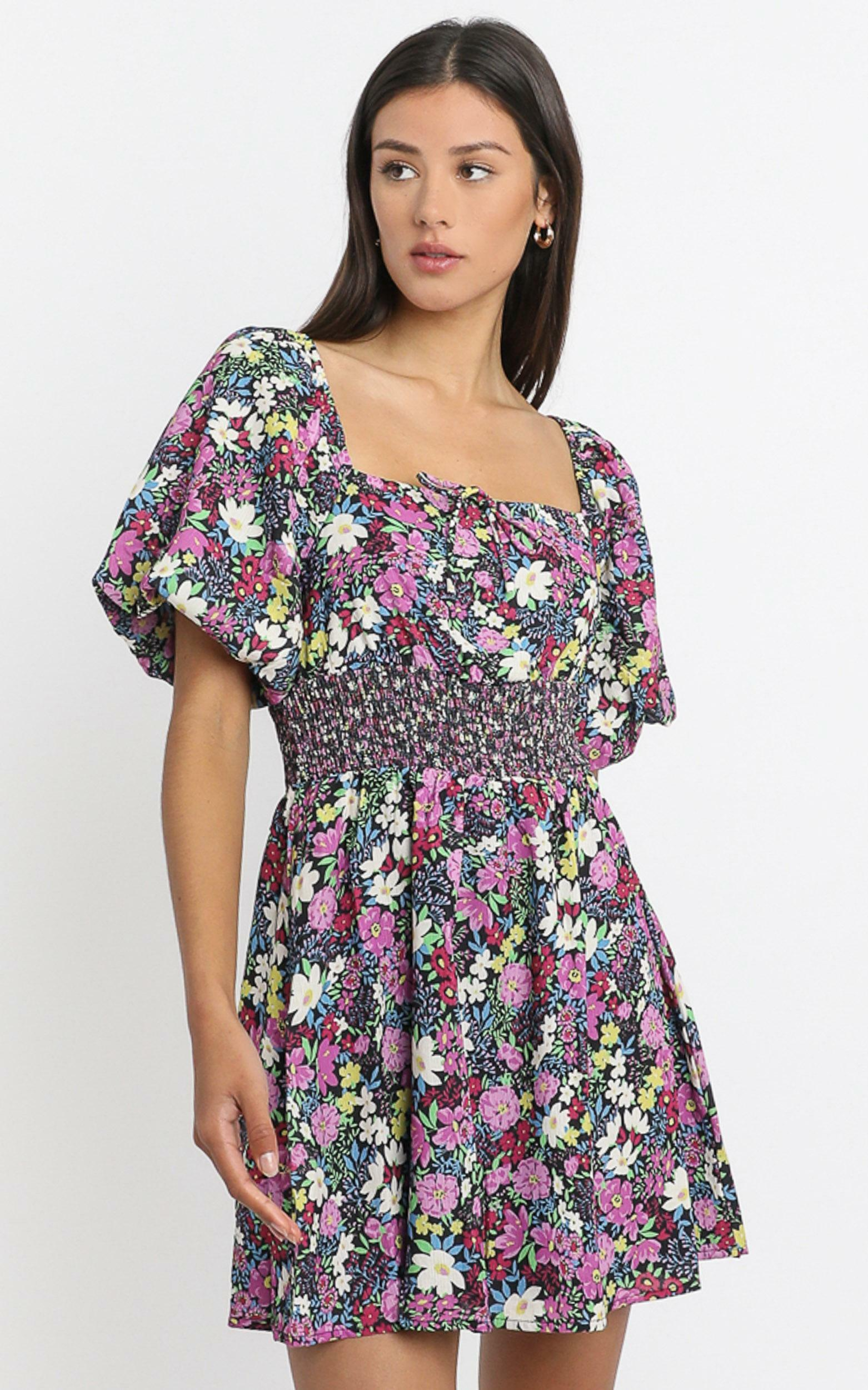 Phoebe Ruched Mini Dress in forest floral - 6 (XS), Purple, hi-res image number null