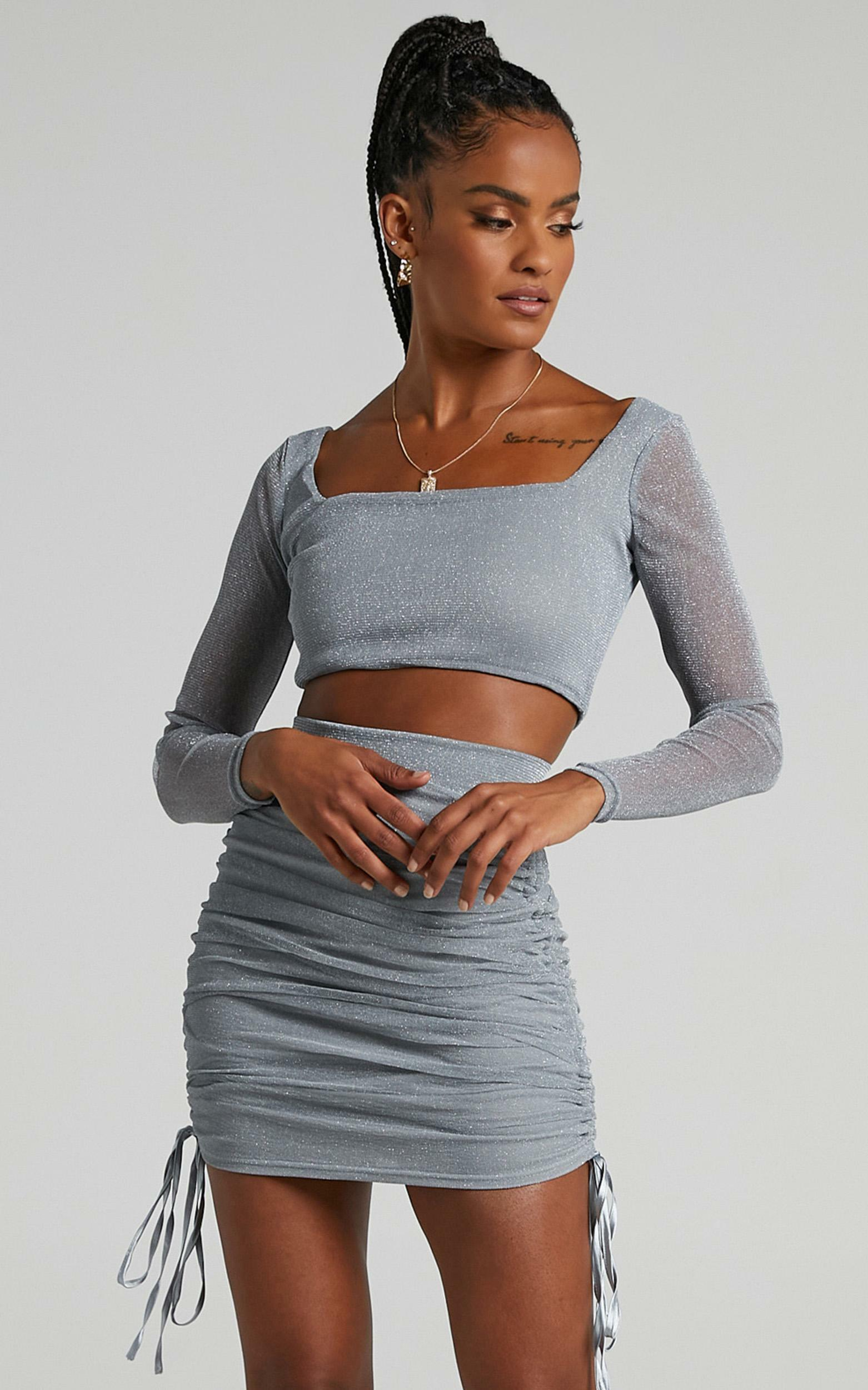 Glitter Two Piece Set in Silver - 4 (XXS), Silver, hi-res image number null