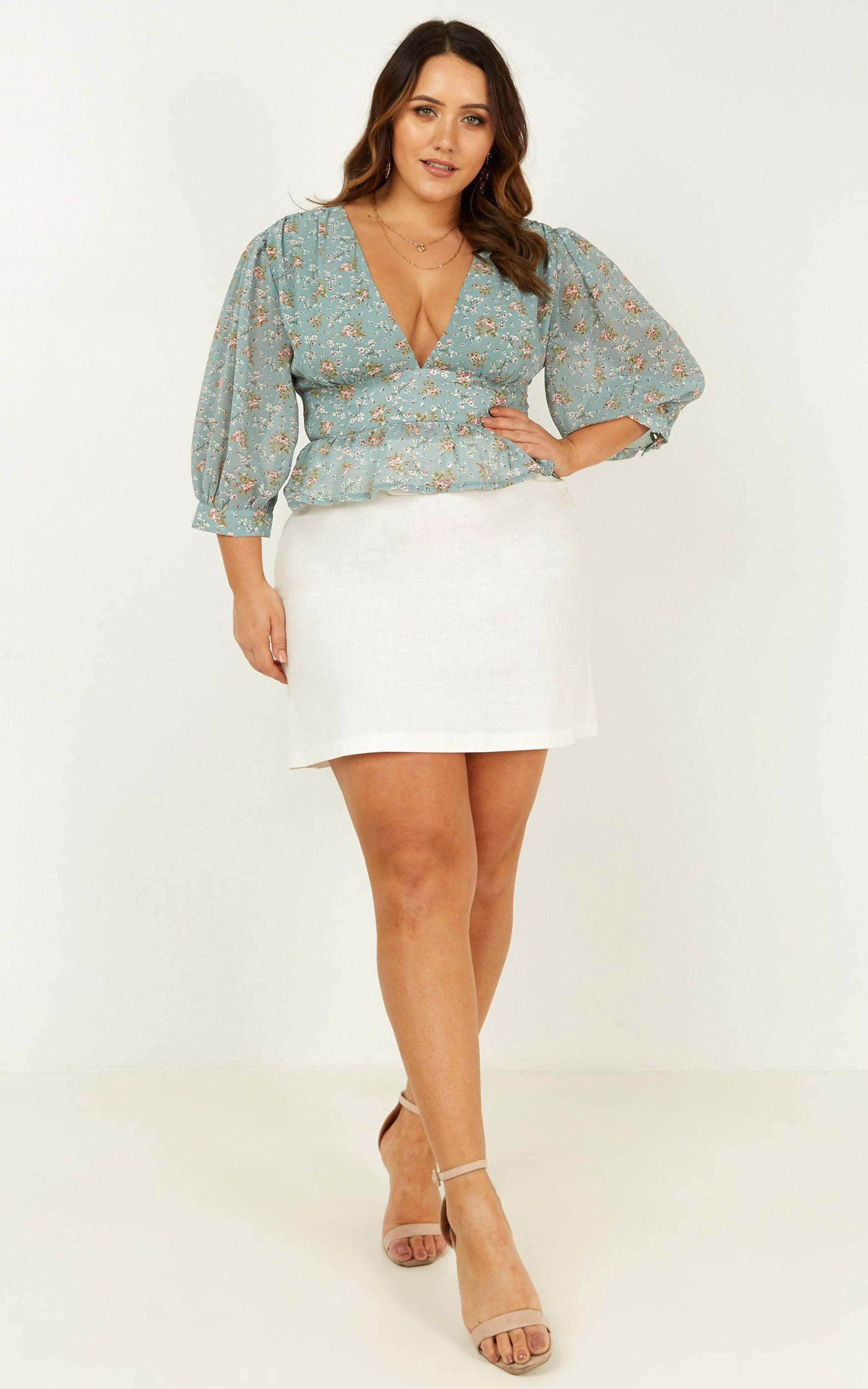 Never As Easy Top In teal floral - 12 (L), Green, hi-res image number null