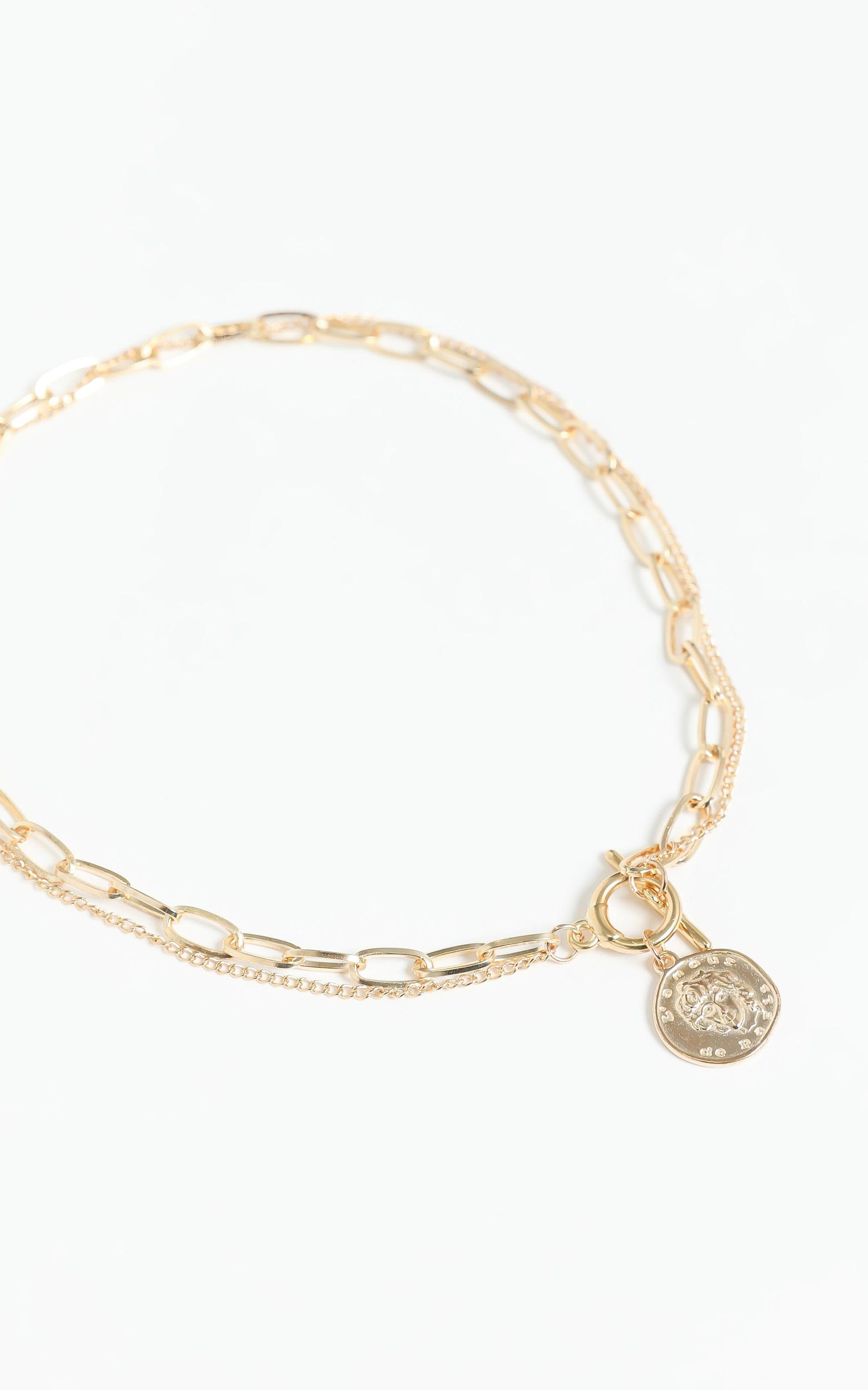 Gold Coin Necklace in Gold, , hi-res image number null