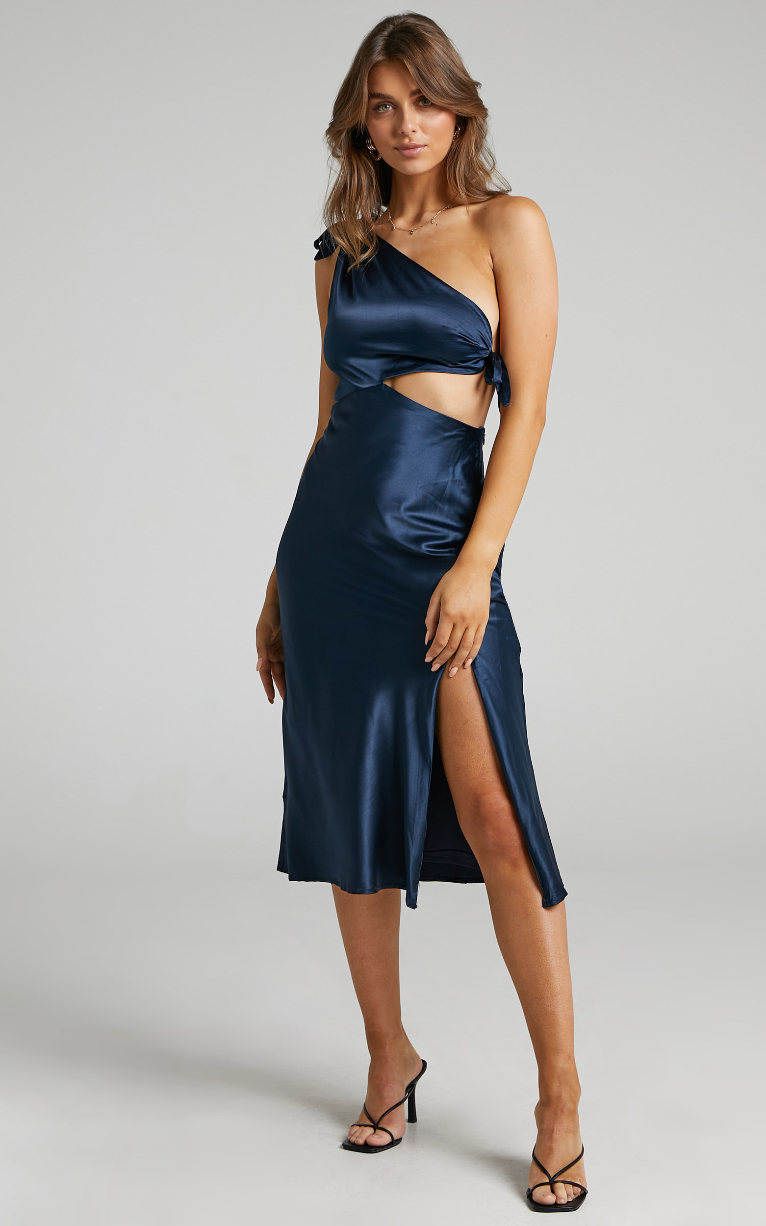 Glaucus Dress in Navy Satin - 06, NVY2, hi-res image number null