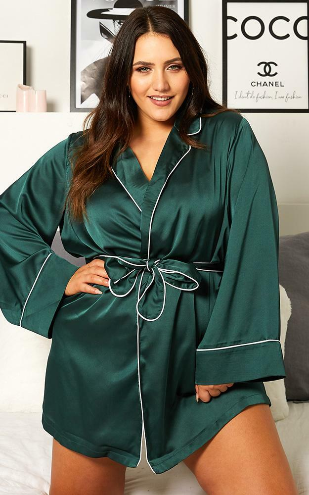 Nap Time Robe in Emerald Satin - 20, GRN2, hi-res image number null