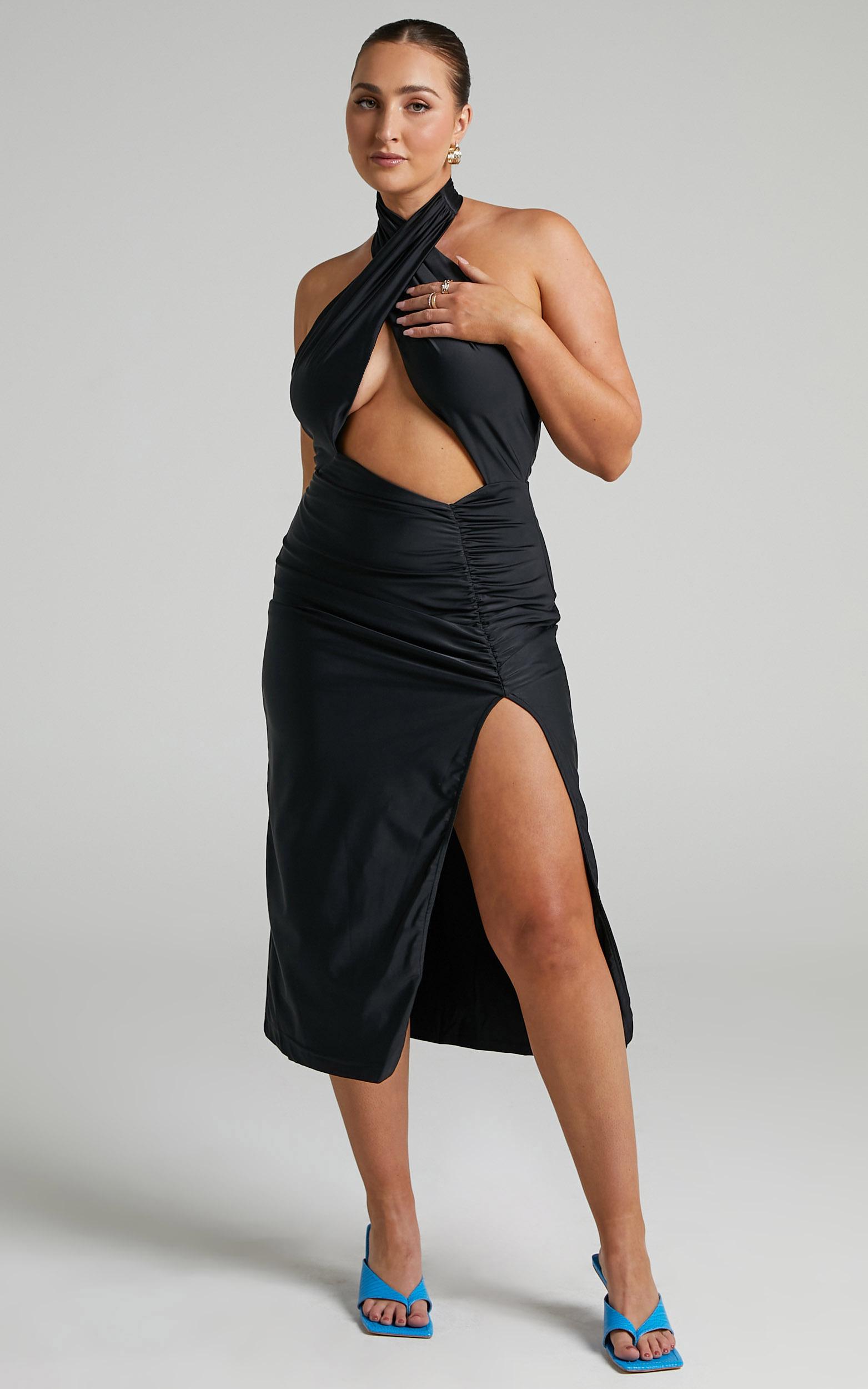 Alara Cutout Ruched Midi Dress in Black - 06, BLK1, hi-res image number null
