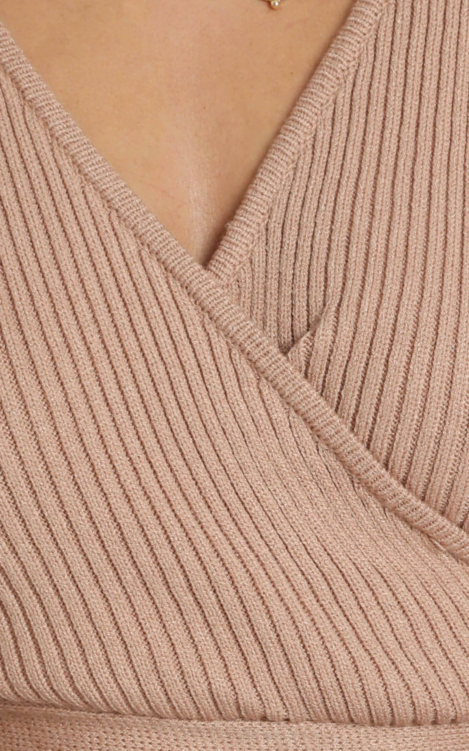 Aisling Knit Ribbed Top in Mocha - XS/S, Mocha, hi-res image number null