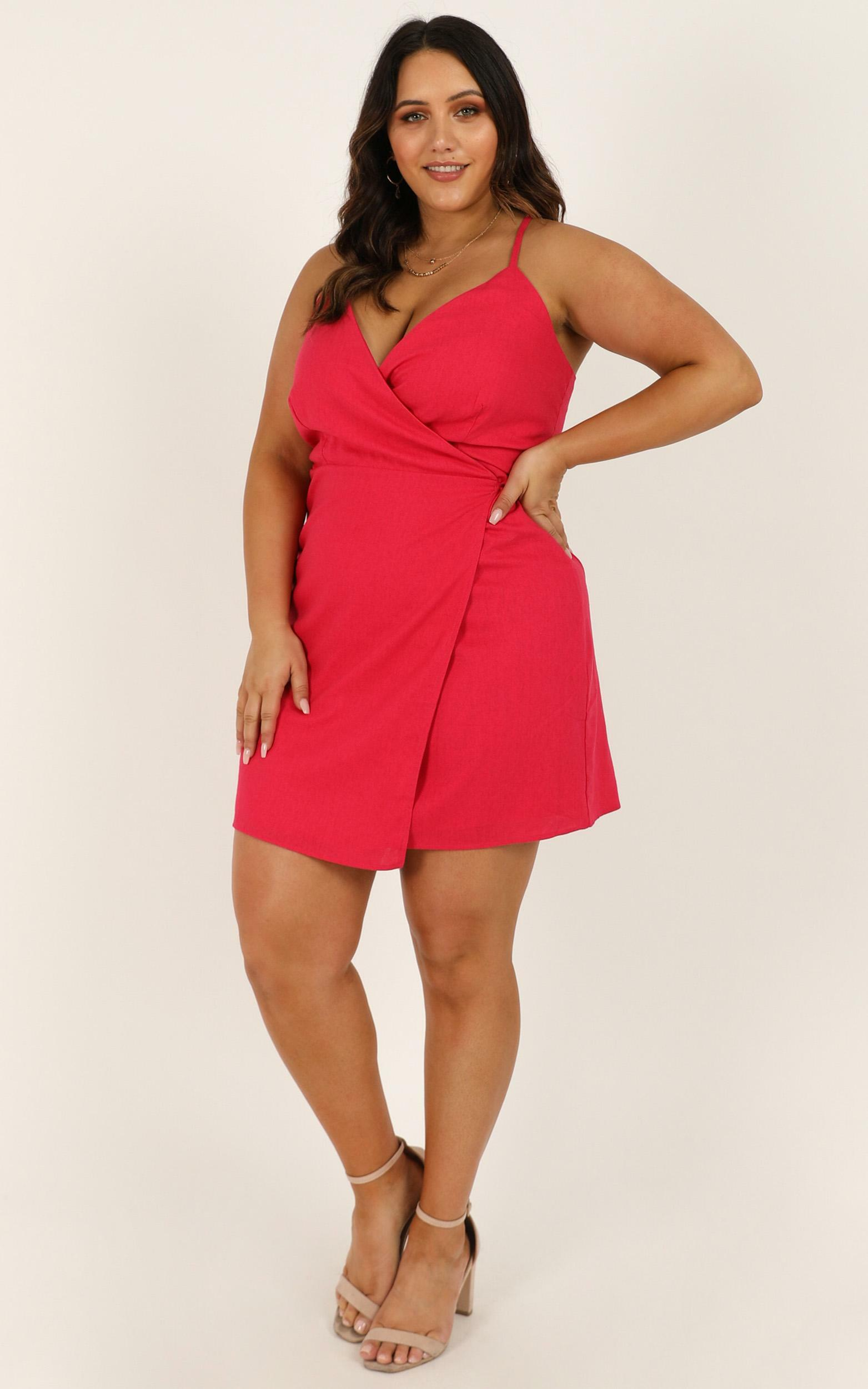 Whisper It Dress in berry linen look - 20 (XXXXL), Pink, hi-res image number null