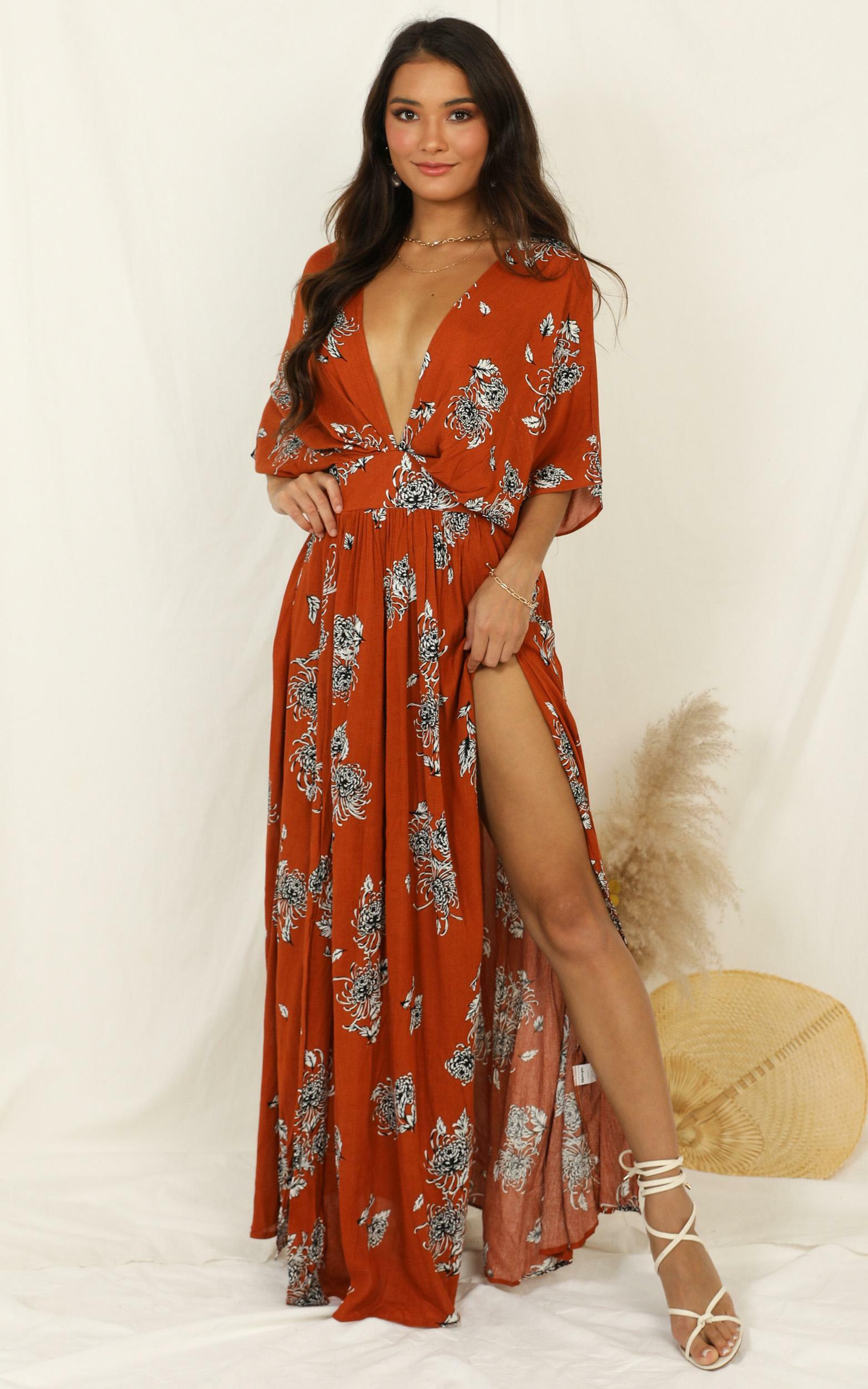 Vacay Ready Maxi Dress in rust floral - 20 (XXXXL), RED2, hi-res image number null