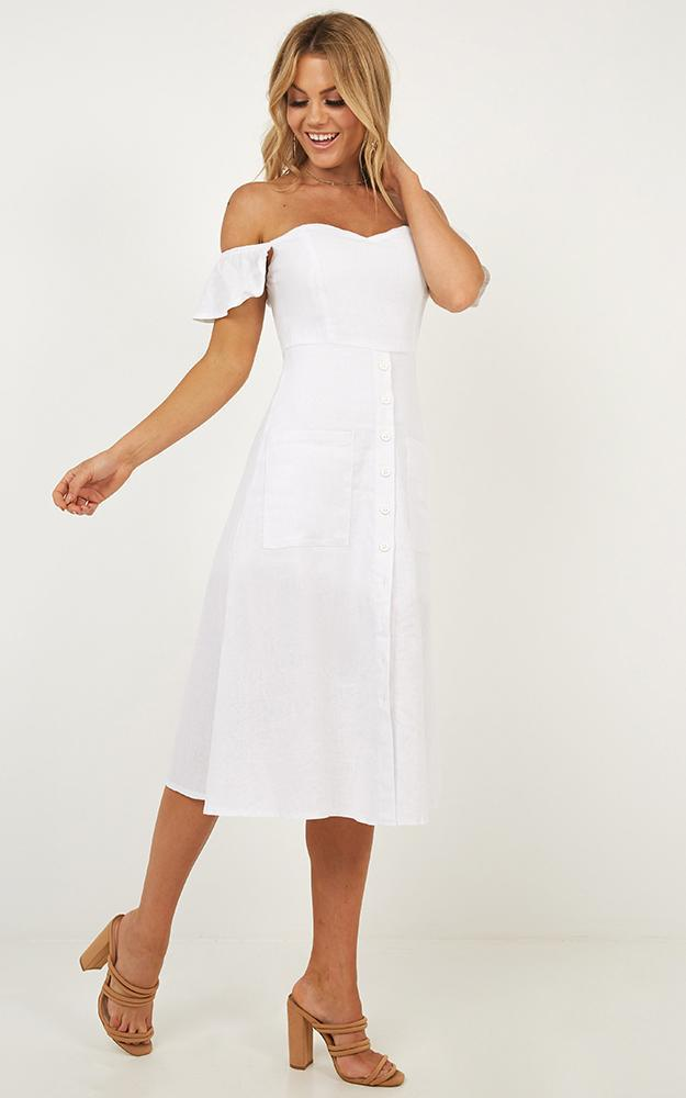 Chase The Stars Dress in white linen look - 12 (L), White, hi-res image number null