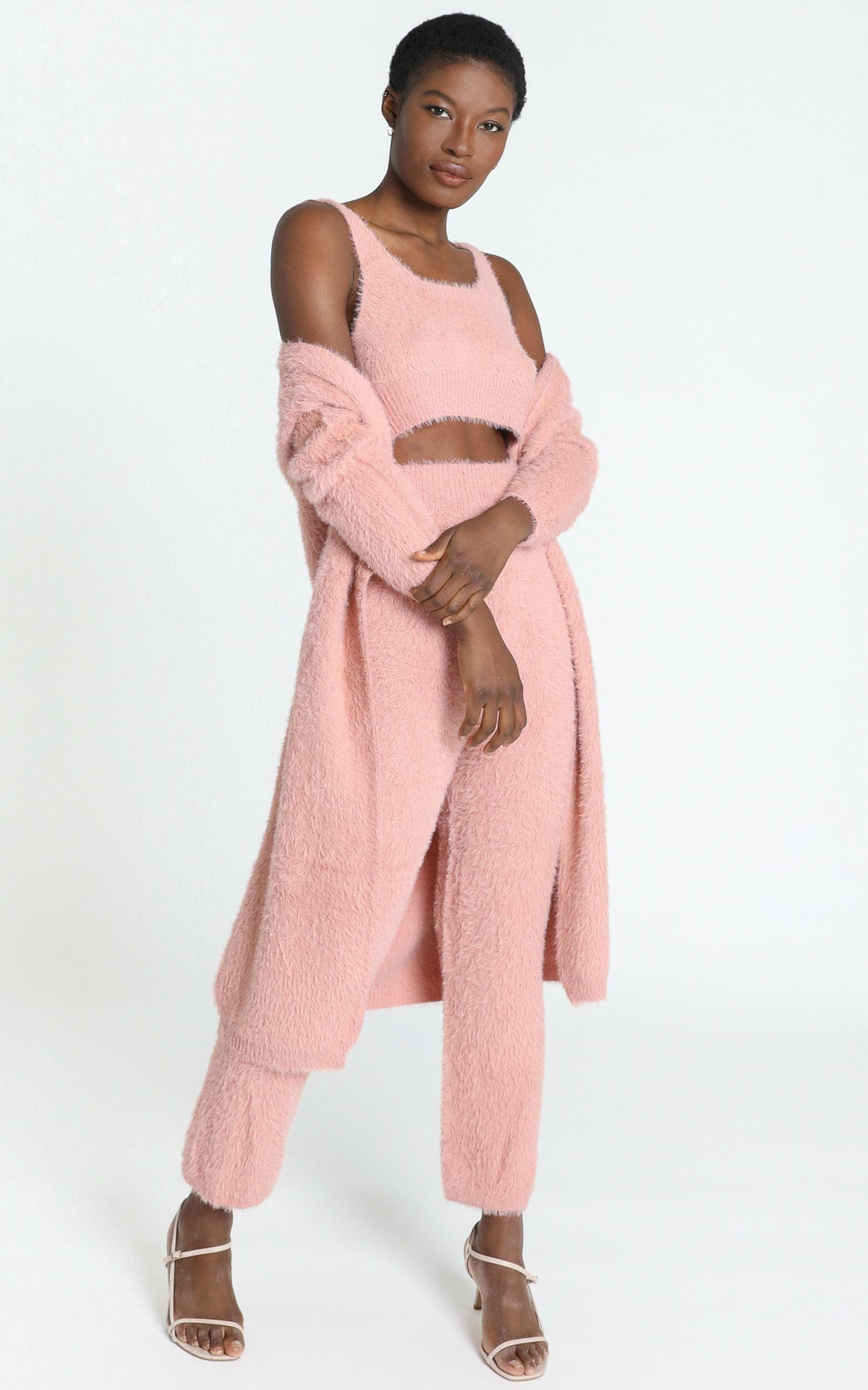 Athena Fluffy Knit Cardigan in Blush - S, Blush, hi-res image number null