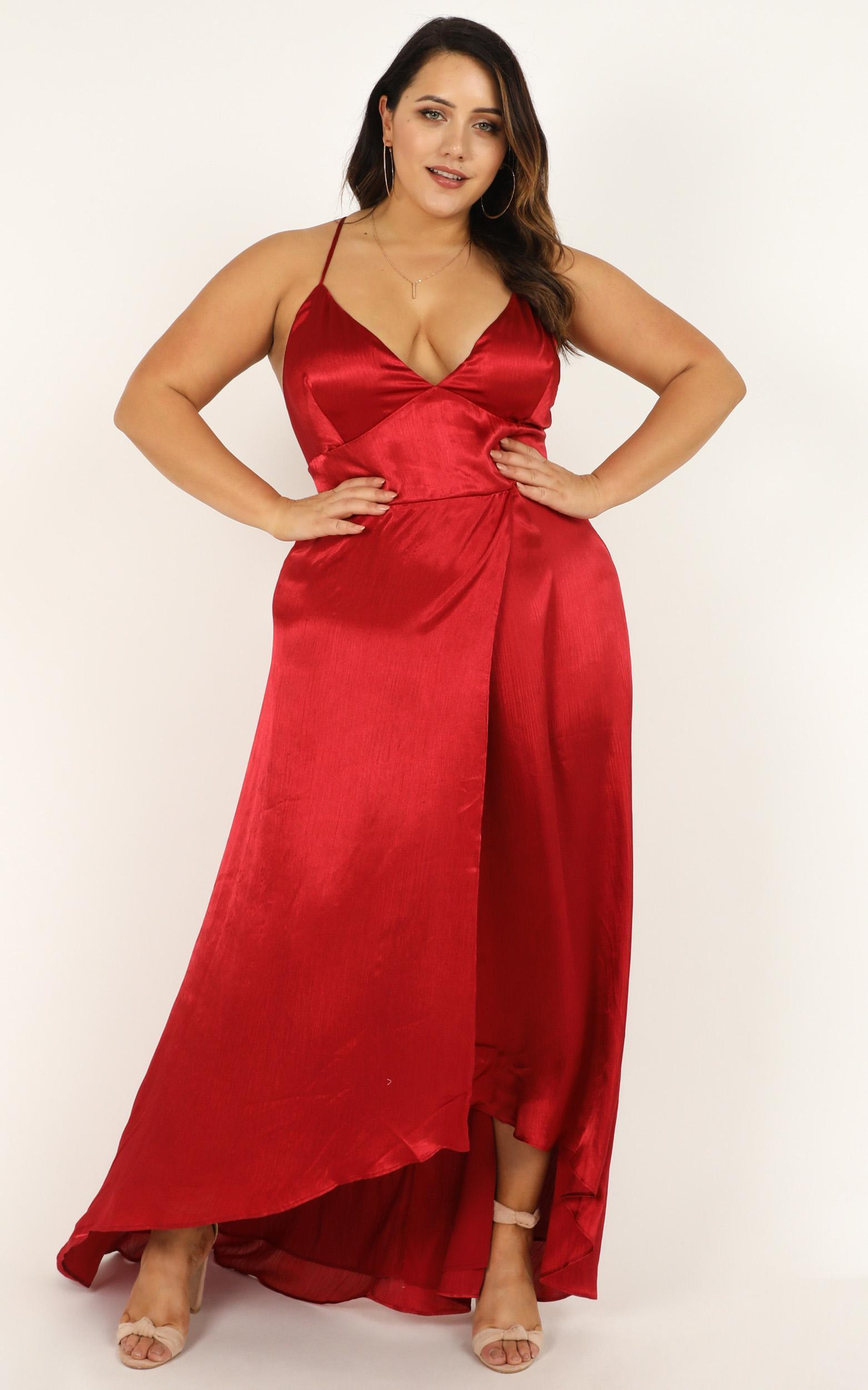 No mistaking dress in red satin - 20 (XXXXL), Red, hi-res image number null