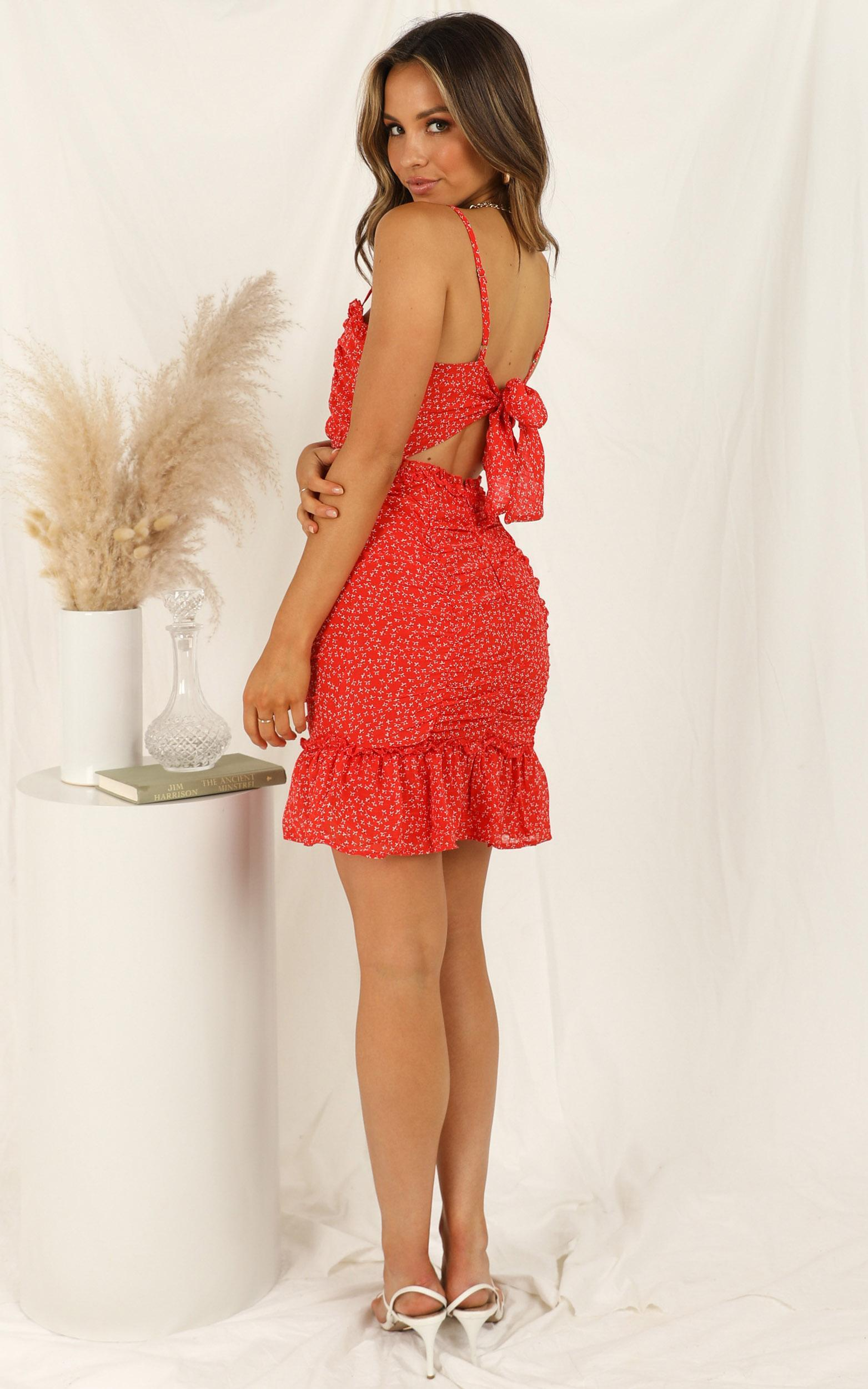 The Best Feeling dress in red print - 12 (L), Red, hi-res image number null