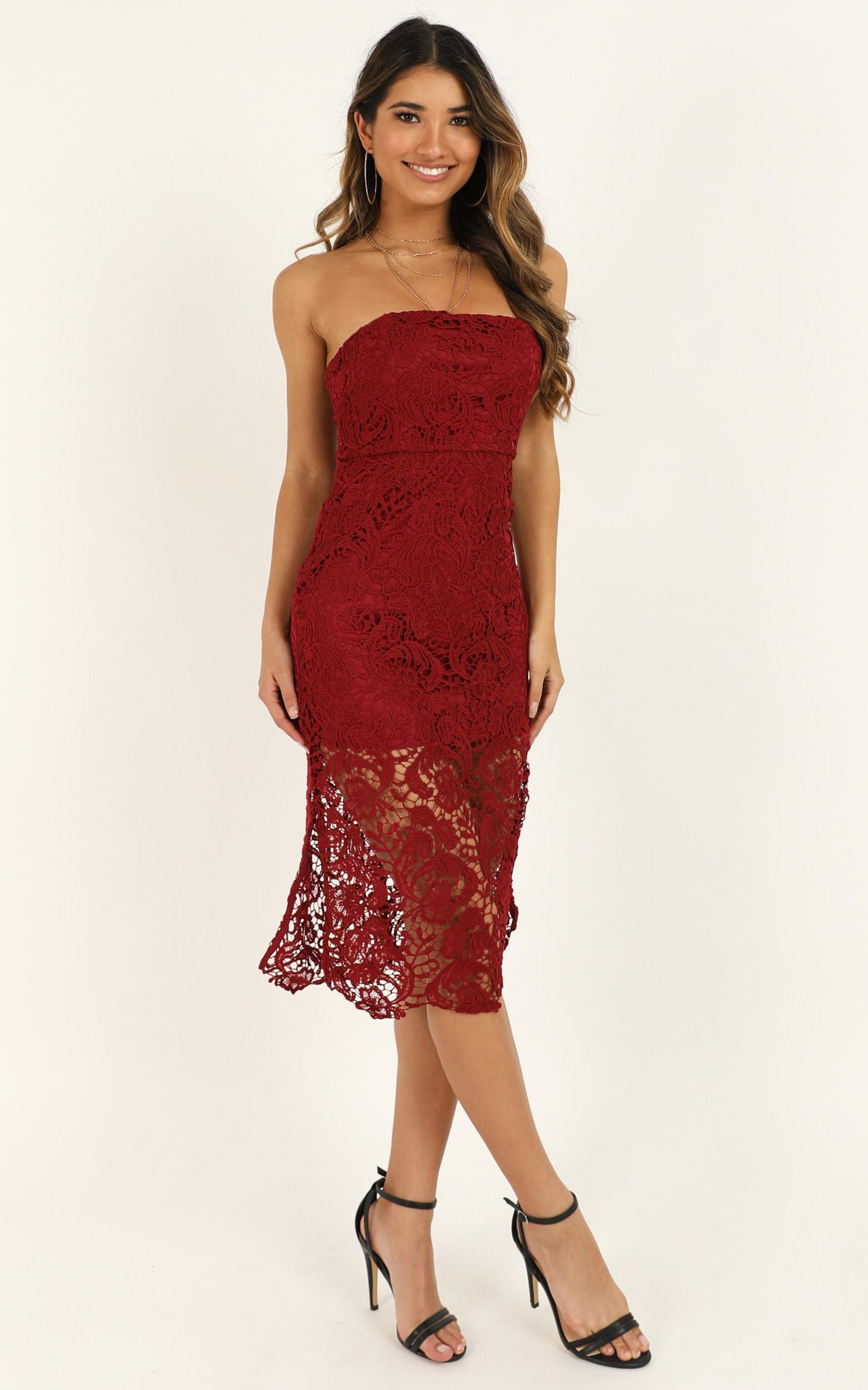 Walk the other way Dress in wine lace - 20 (XXXXL), Wine, hi-res image number null