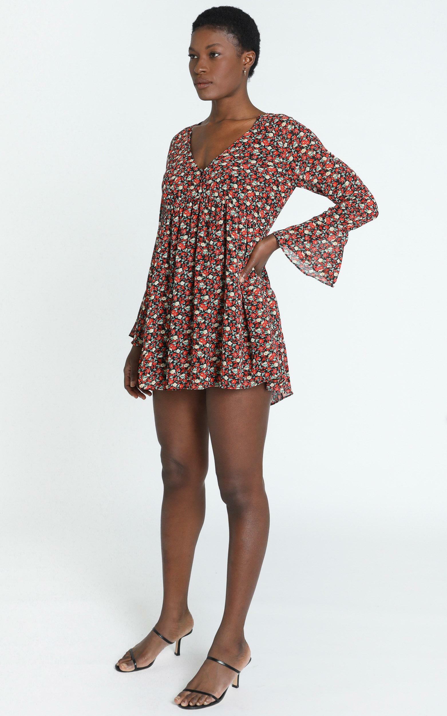 Rorie Dress in black floral - 14 (XL), Black, hi-res image number null