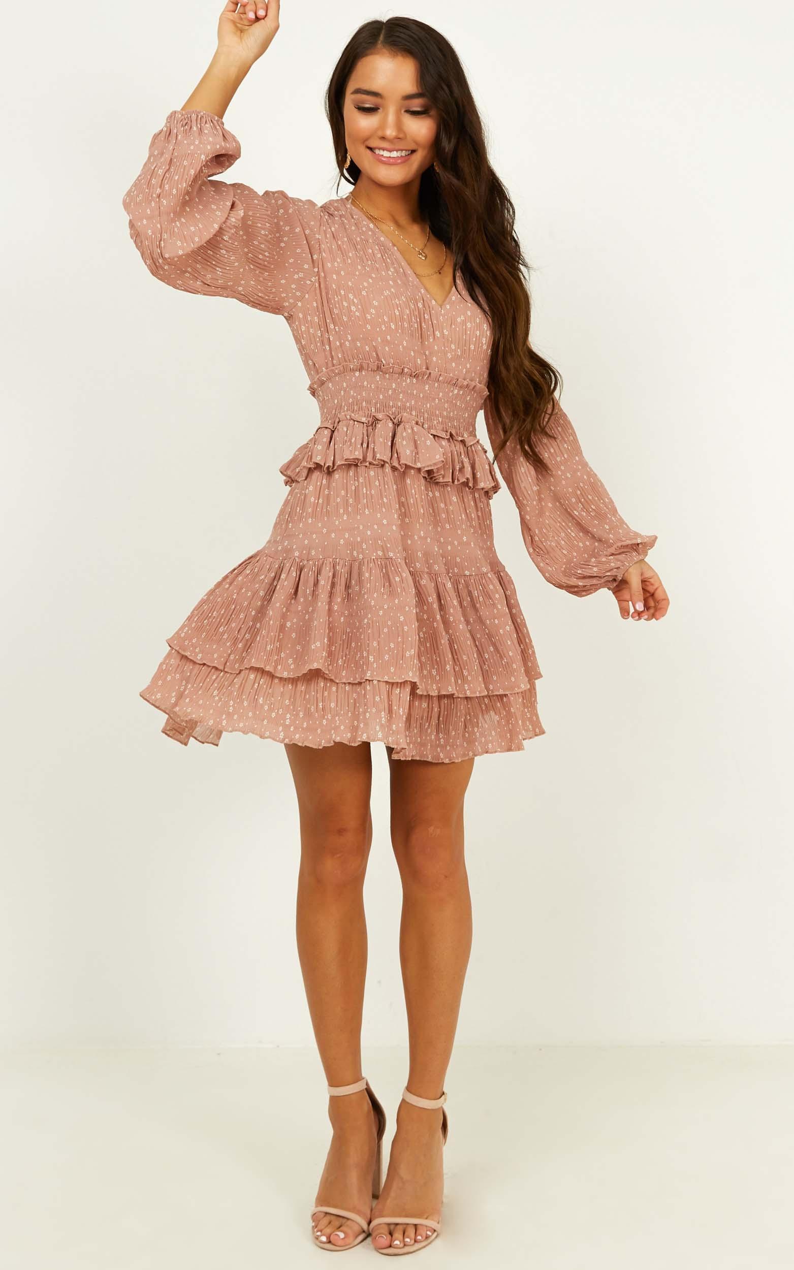 Good Surprise dress in blush floral - 14 (XL), Blush, hi-res image number null