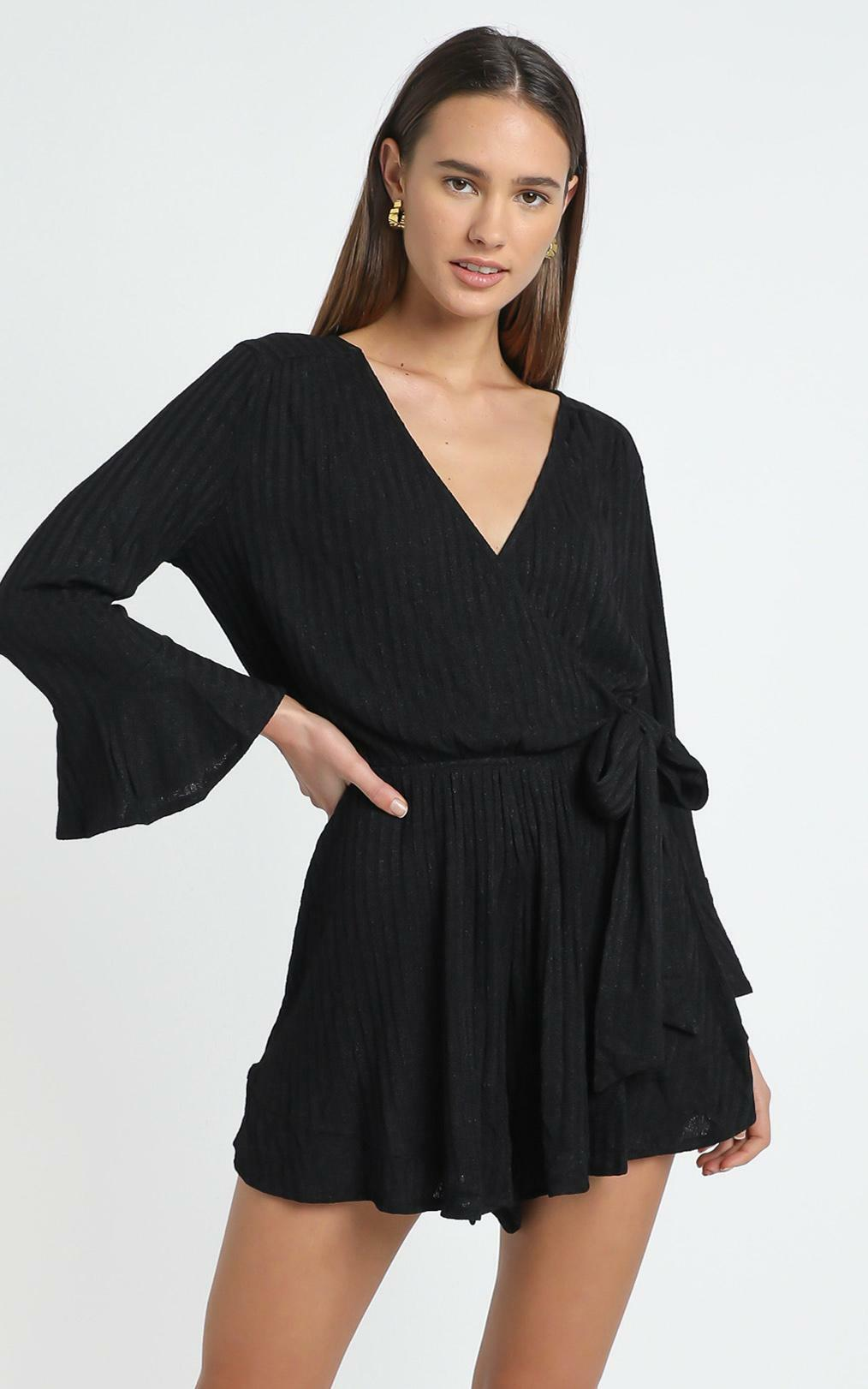 New and Fresh Playsuit in black rib - 6 (XS), Black, hi-res image number null