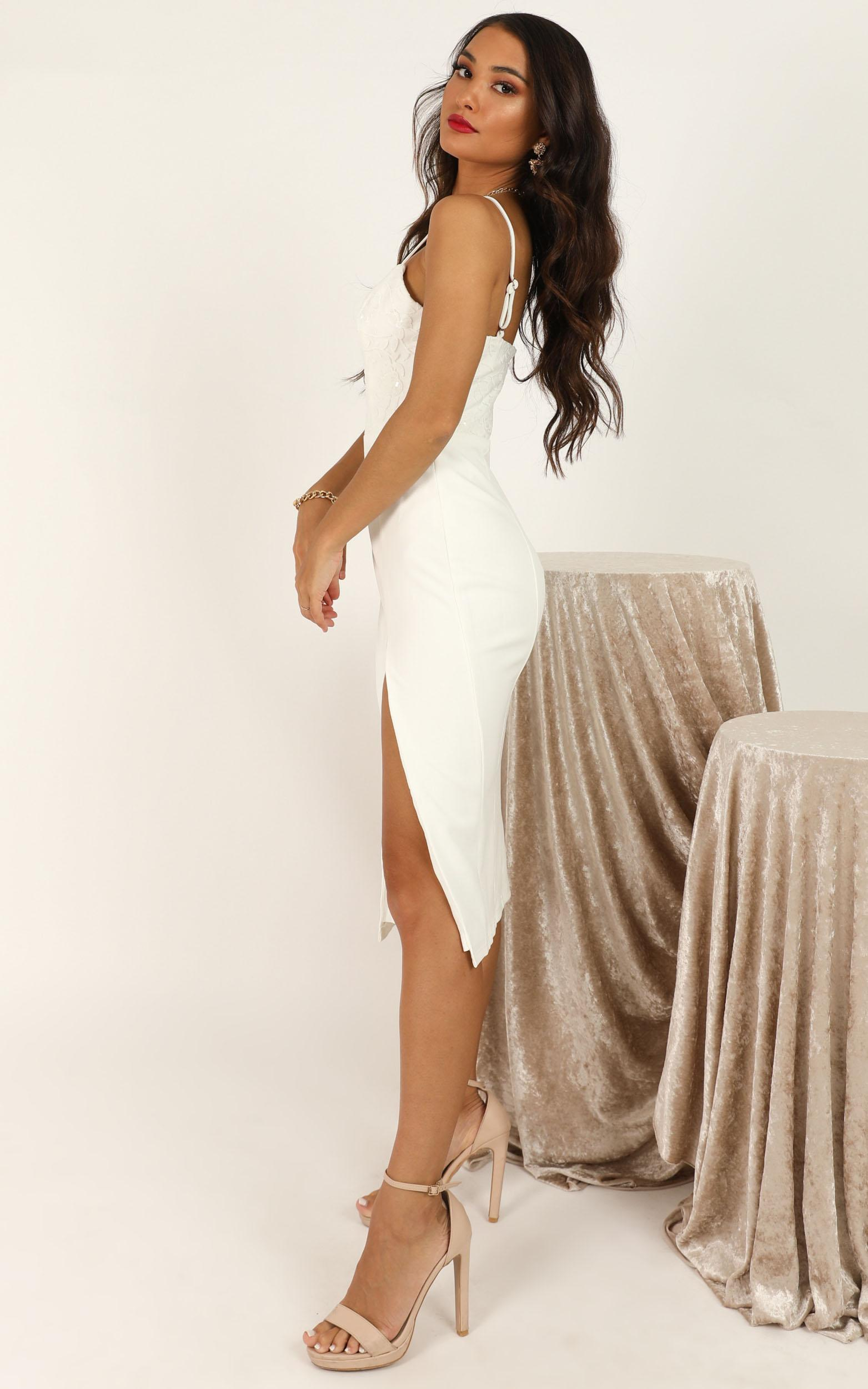 These Tulips Dress in white sequin - 20 (XXXXL), White, hi-res image number null