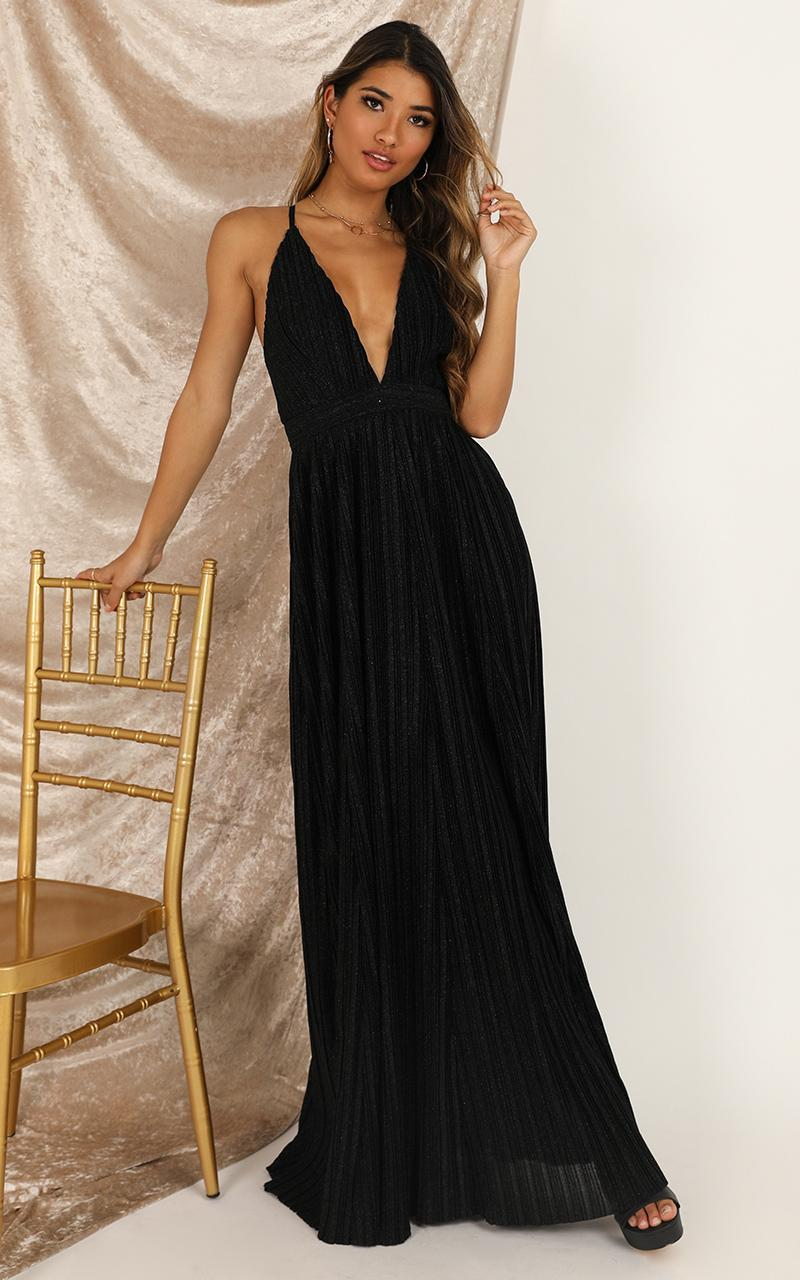 Loved Up maxi dress in black lurex - 8 (S), Black, hi-res image number null