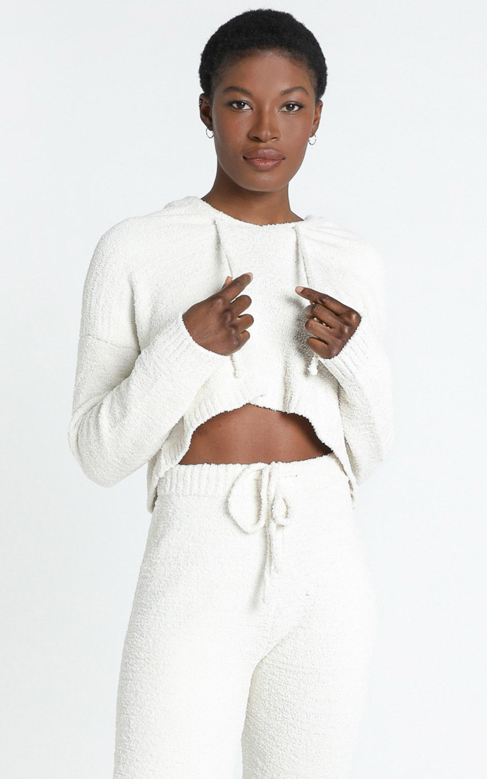 Adelie Super Soft Knit Hoody in Cream - S, Cream, hi-res image number null