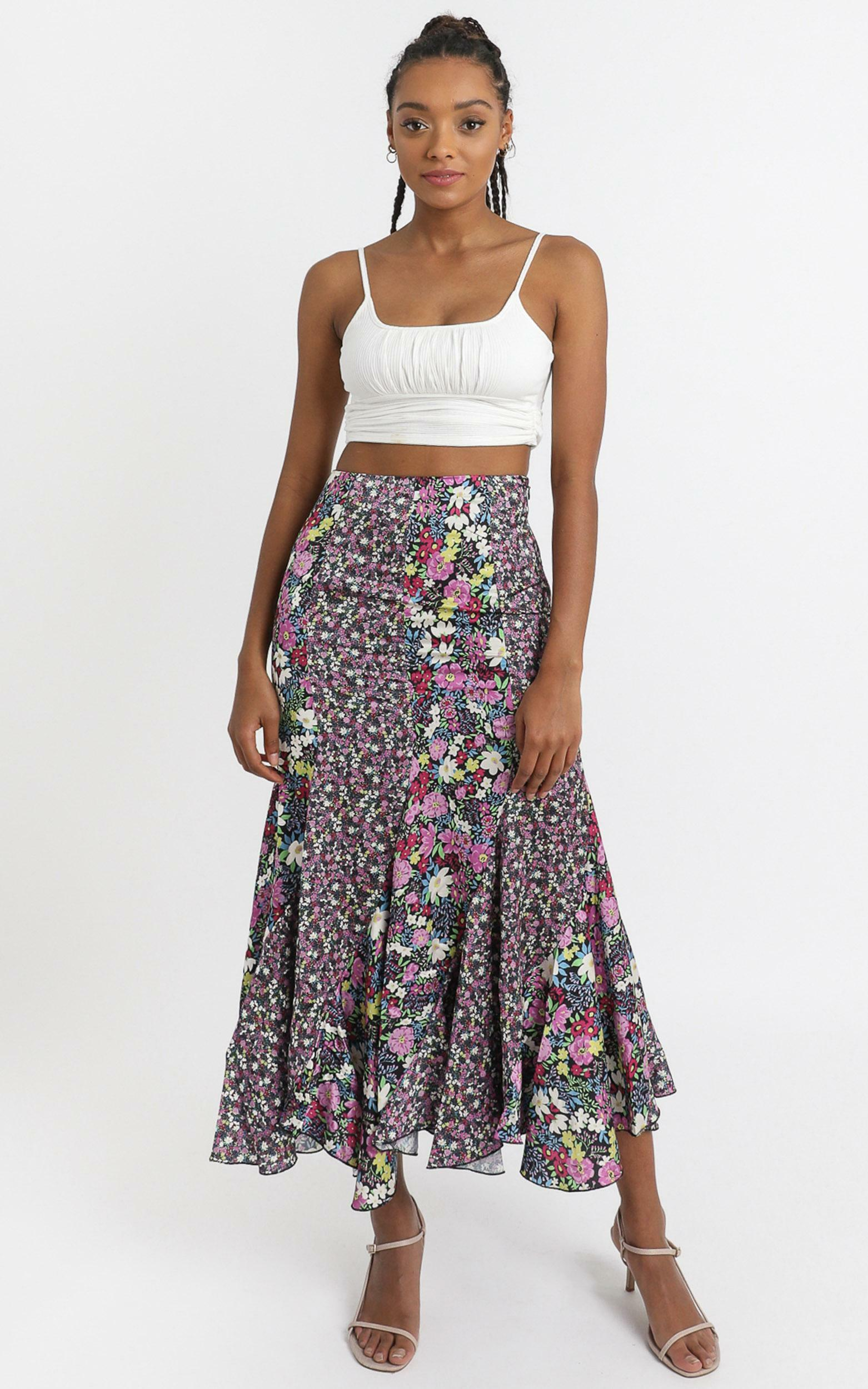 A Fool For You Skirt In Forest Floral - 4 (XXS), Purple, hi-res image number null