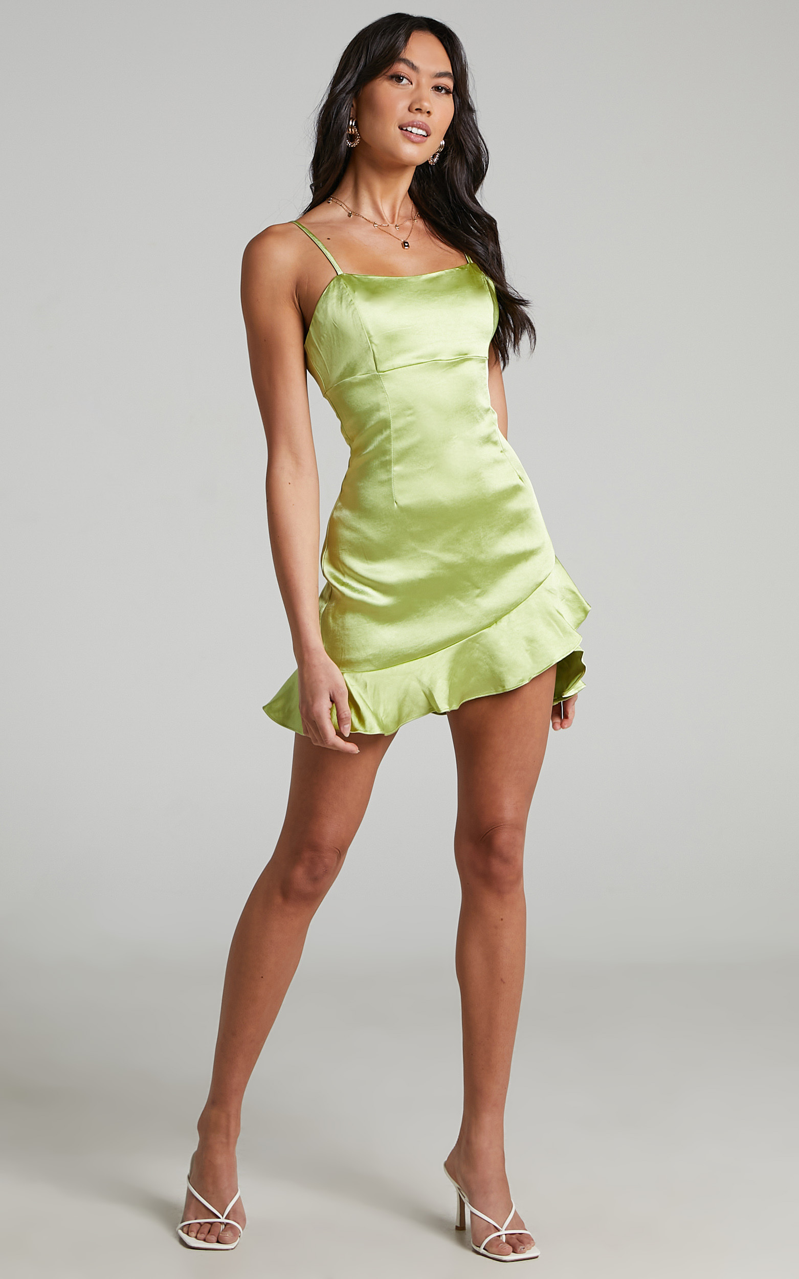 Aida Asymmetrical frill mini dress in Forest Green - 04, GRN1, hi-res image number null
