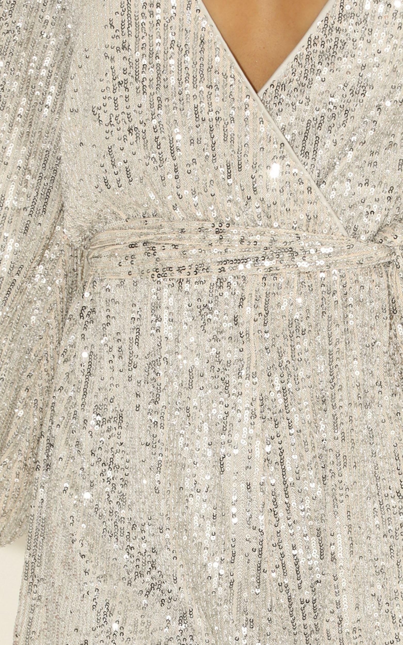 Cloud Lining playsuit in silver sequin - 12 (L), Silver, hi-res image number null