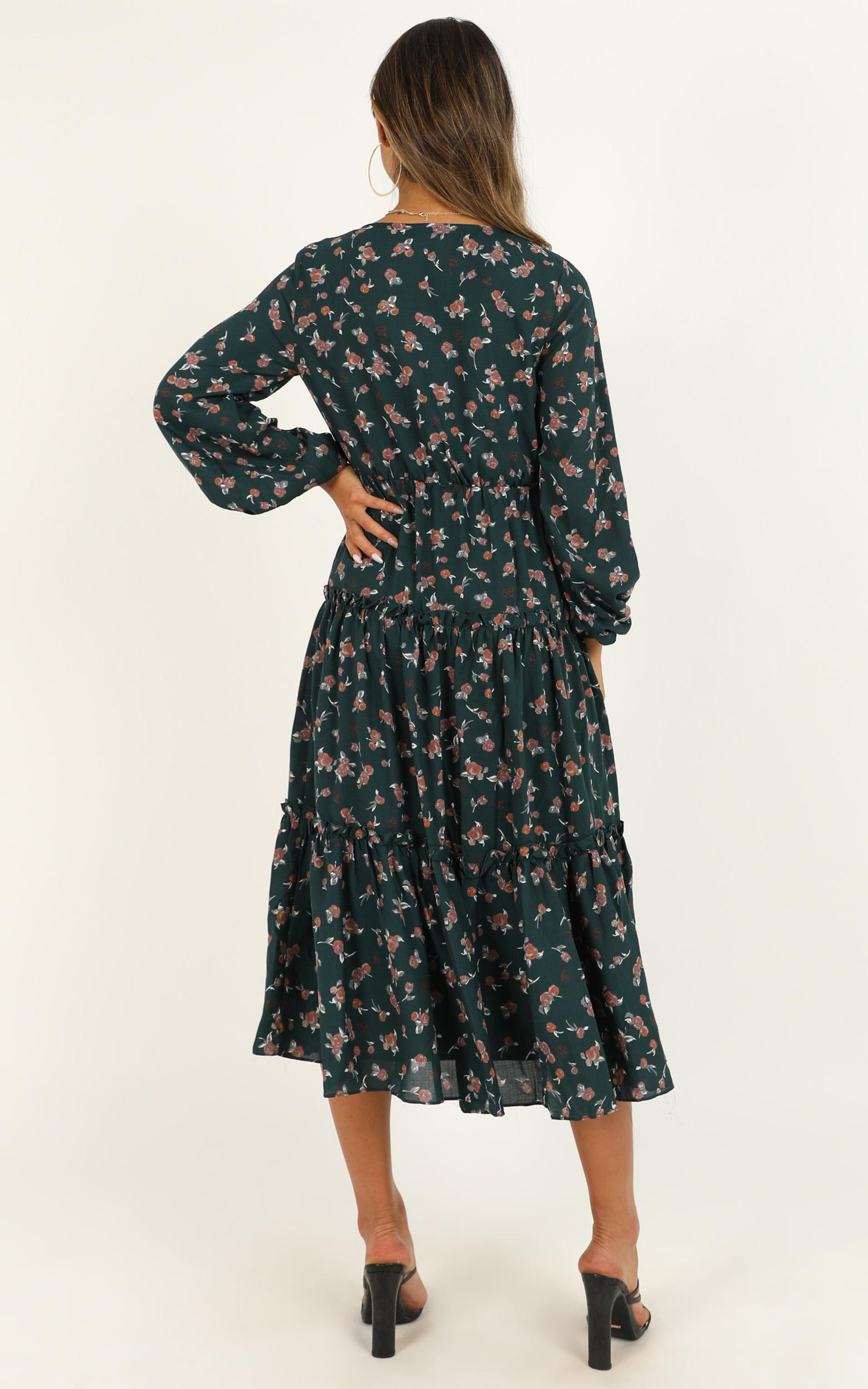 Down The Right Path Dress In Emerald Floral, Green, hi-res image number null