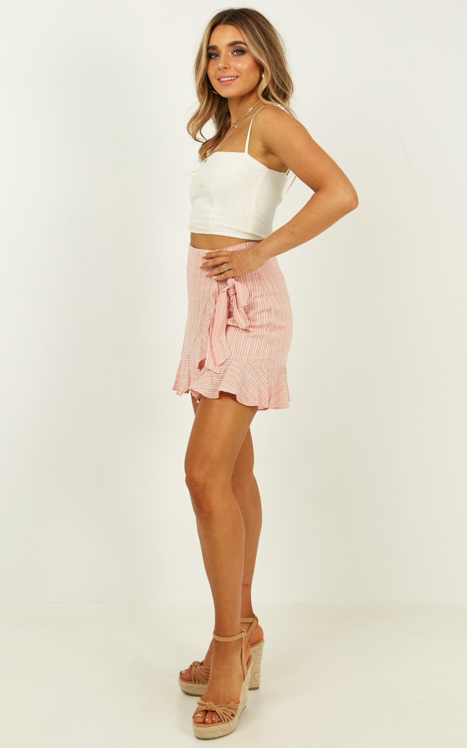 Over and Under Skirt in pink stripe linen look - 16 (XXL), Pink, hi-res image number null